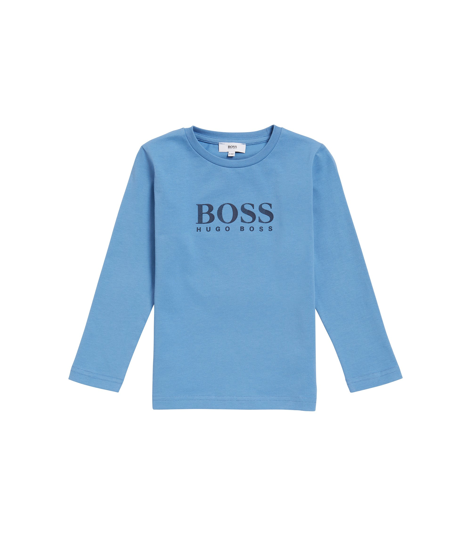 Kids' long-sleeved logo T-shirt in cotton jersey, Light Blue