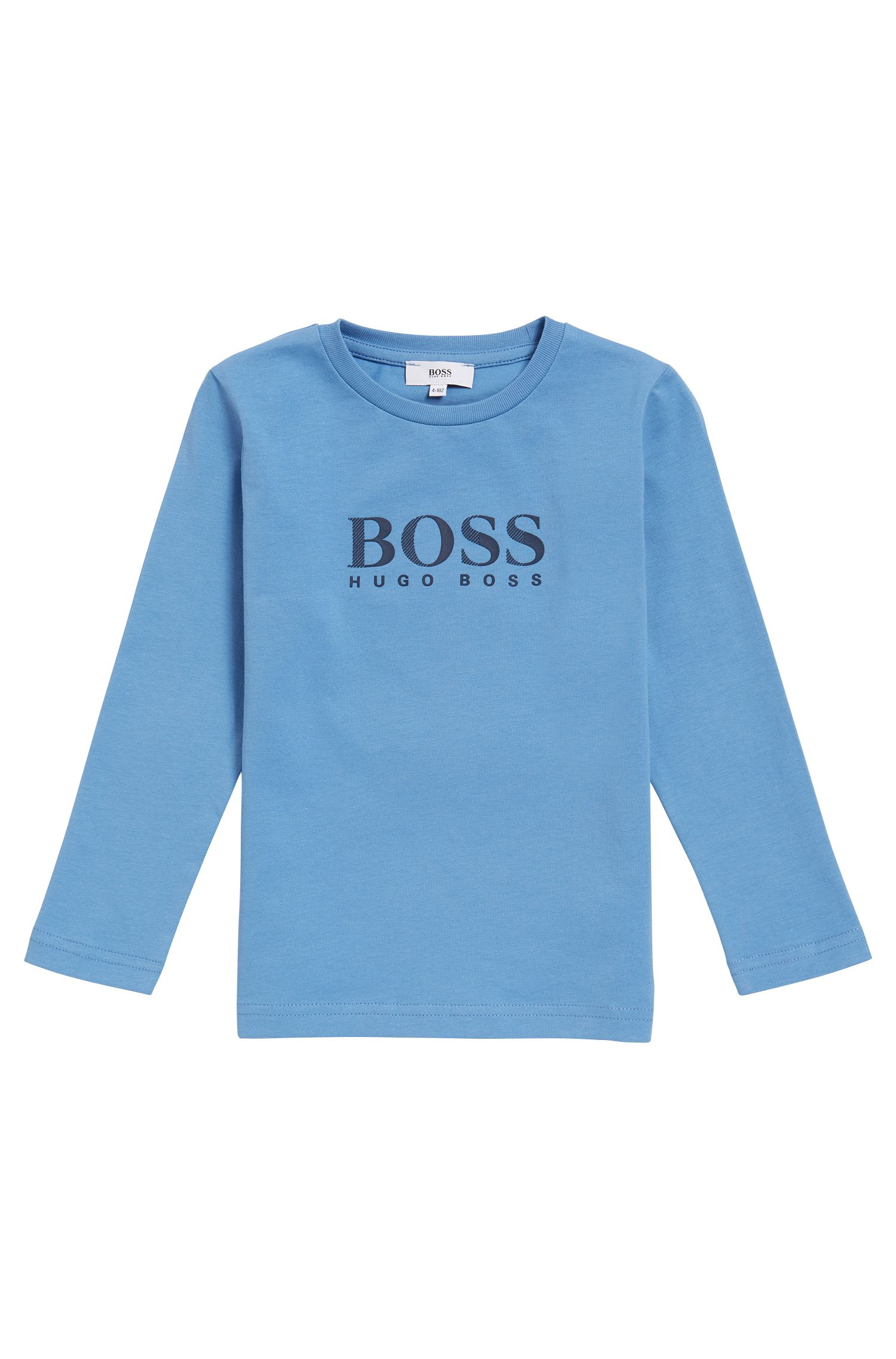 Kids' long-sleeved logo T-shirt in cotton jersey
