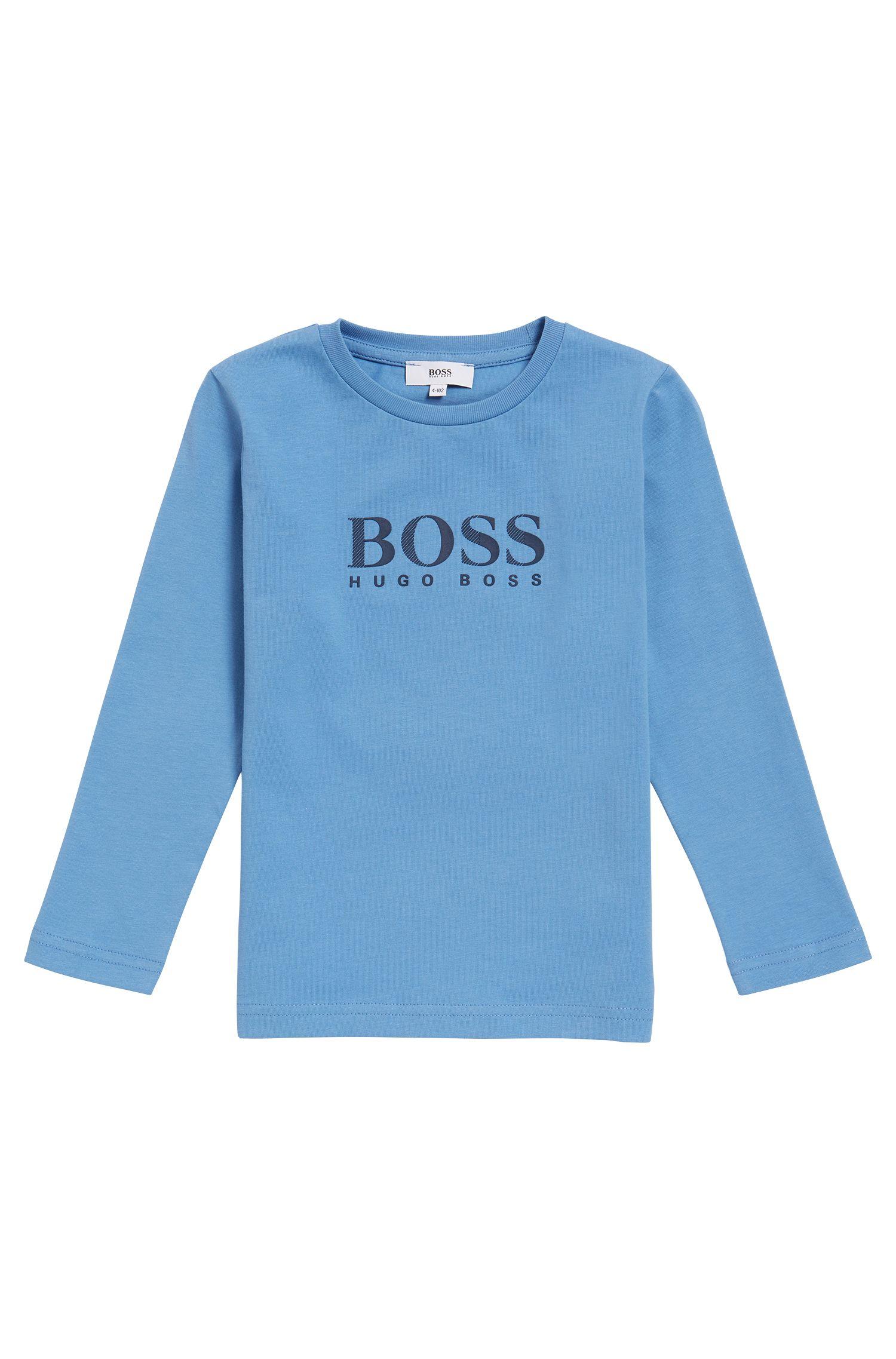Kids-Longsleeve aus Baumwoll-Jersey mit Logo-Print, Hellblau
