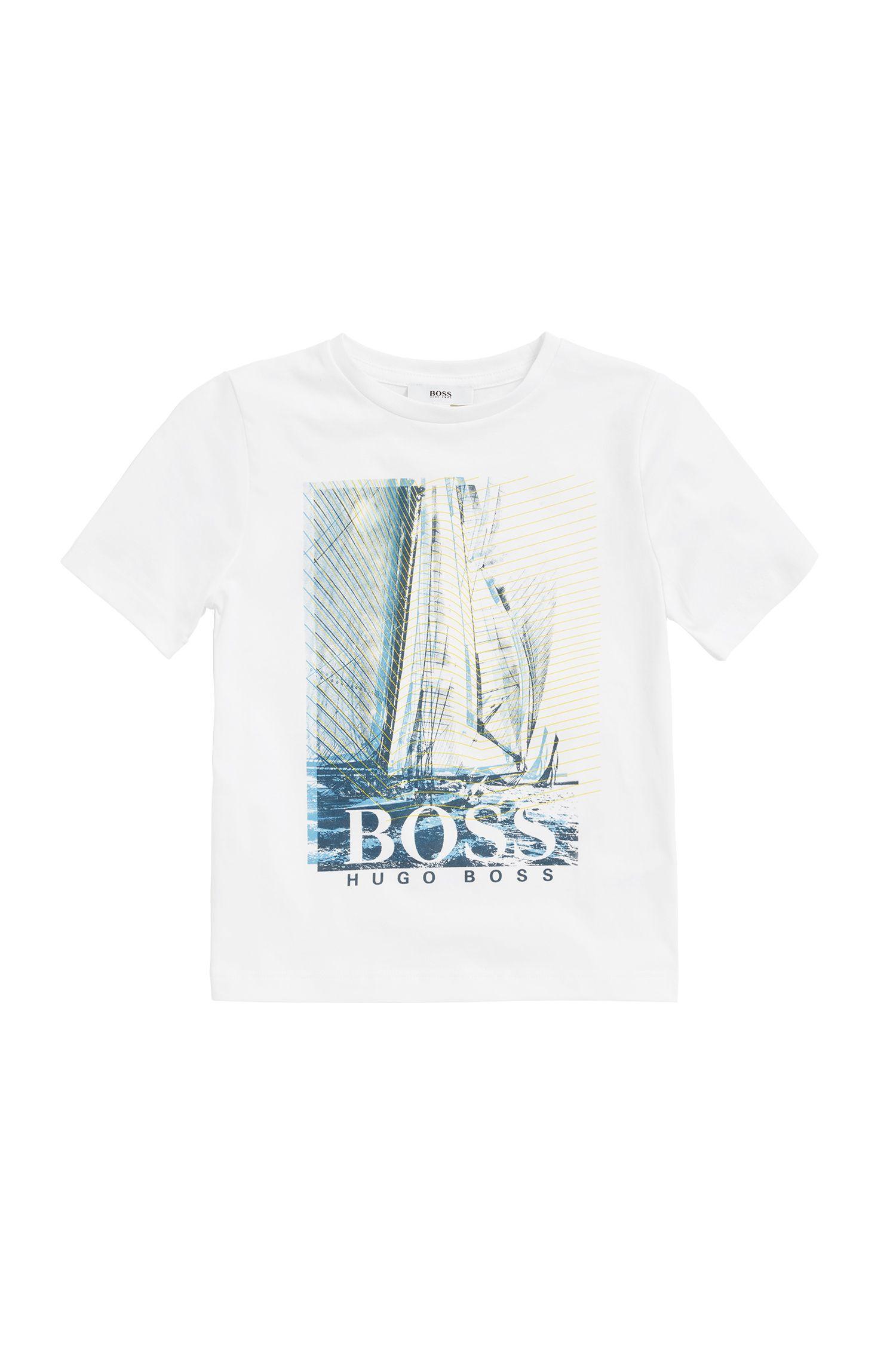 T-shirt pour enfant en jersey de coton avec imprimé graphique, Blanc