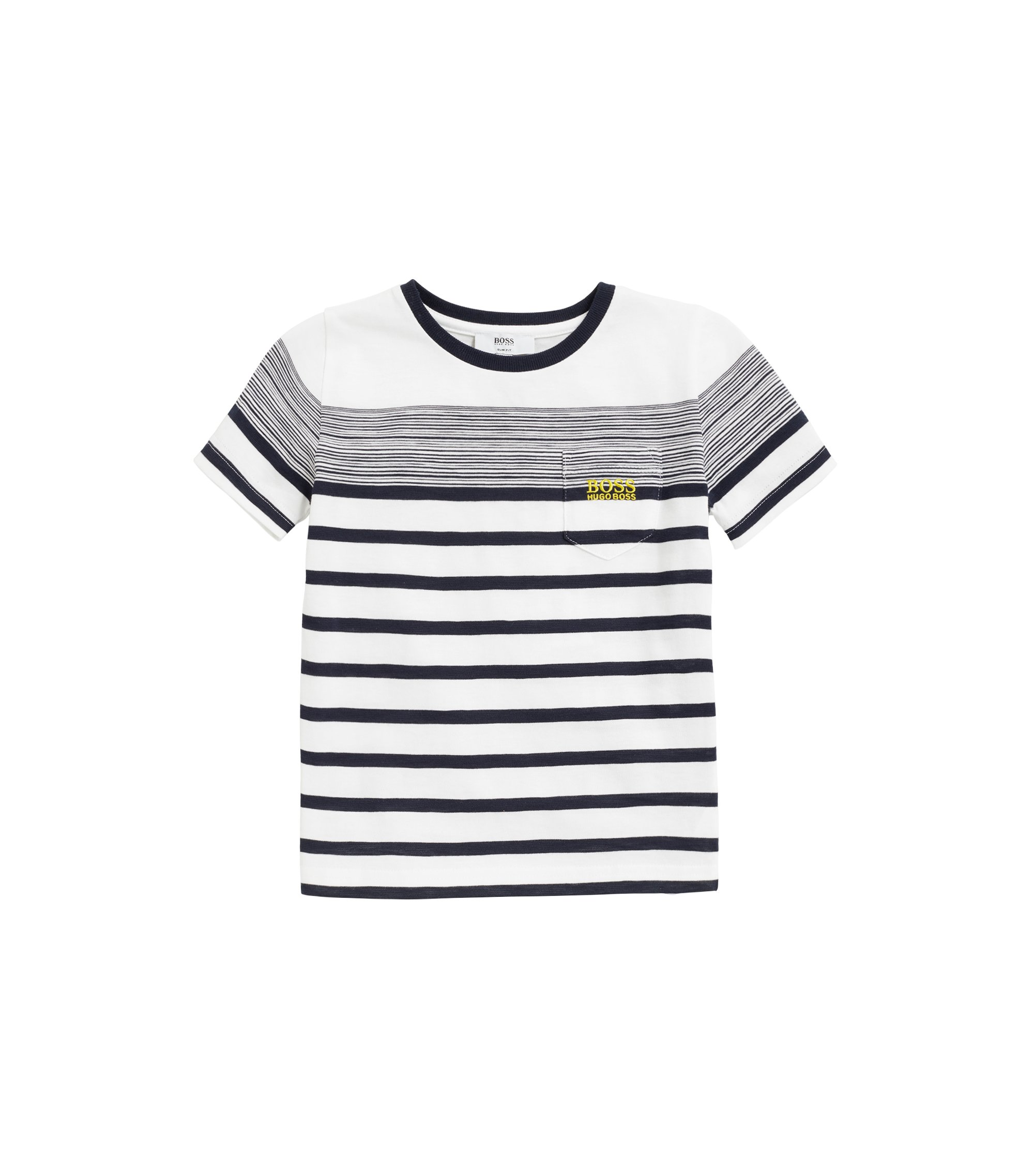 Kids' Breton-striped T-shirt in slub-cotton jersey, White