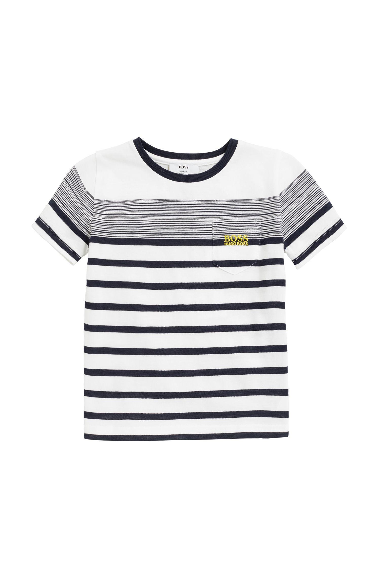 T-shirt pour enfant à rayures bretonnes, en jersey de coton flammé