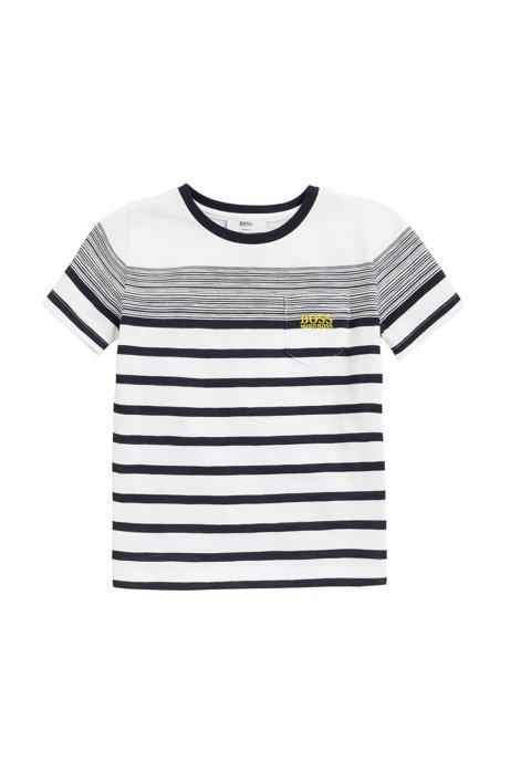HUGO BOSS T-shirt pour enfant à rayures bretonnes, en jersey de coton flammé