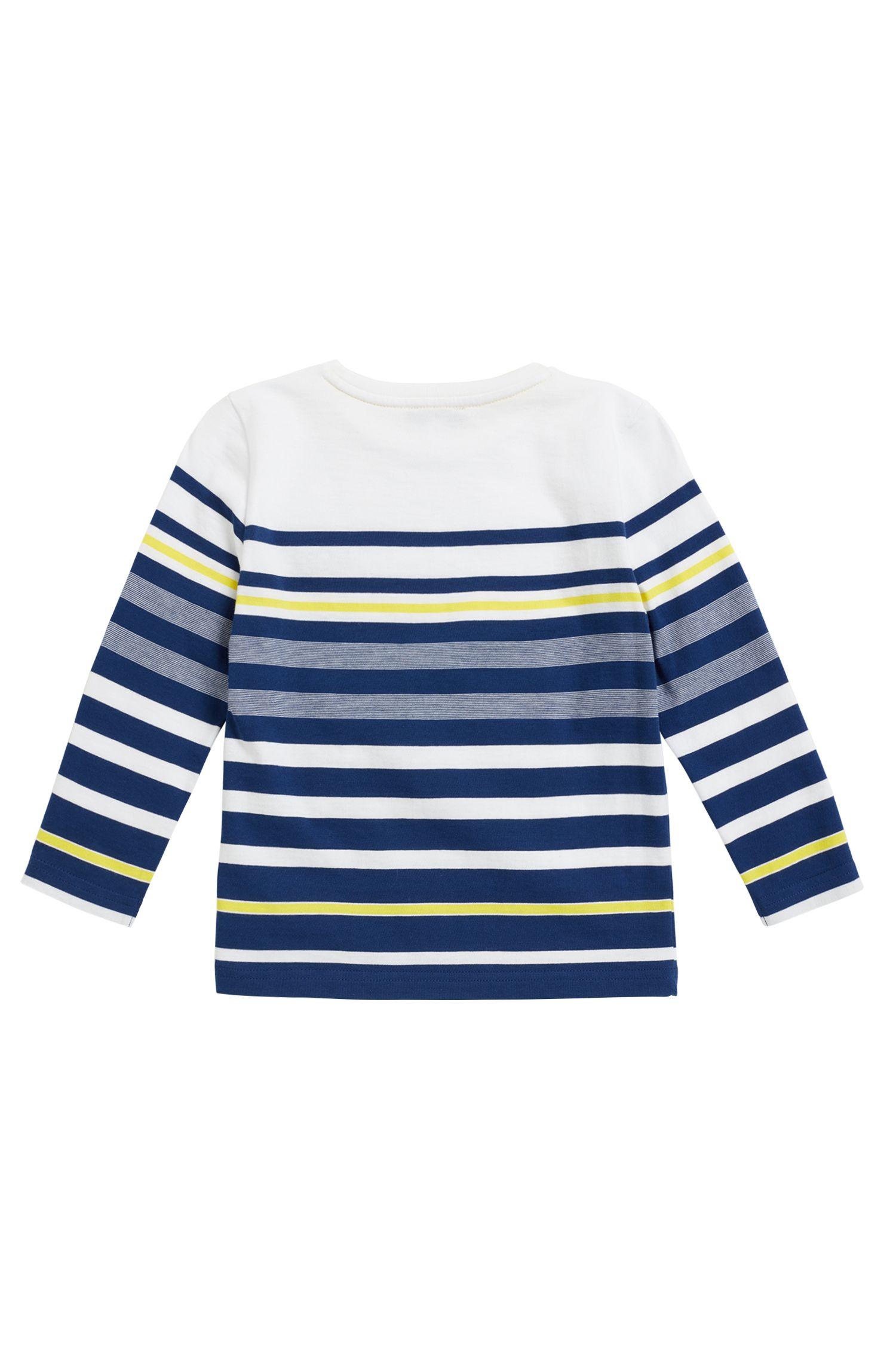 T-shirt a righe da bambino in jersey di cotone a maniche lunghe, Blu scuro