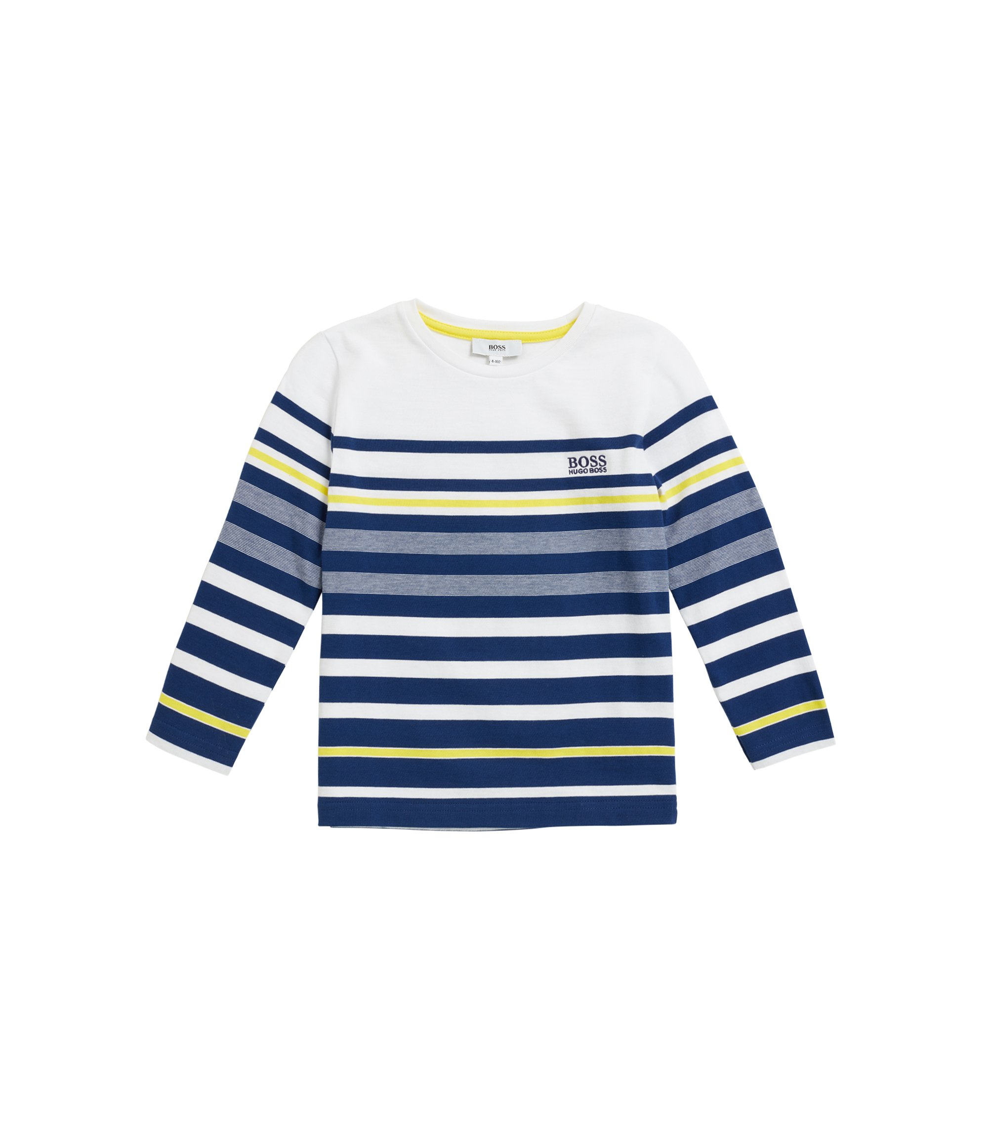 Kids' long-sleeved striped T-shirt in cotton jersey, Dark Blue