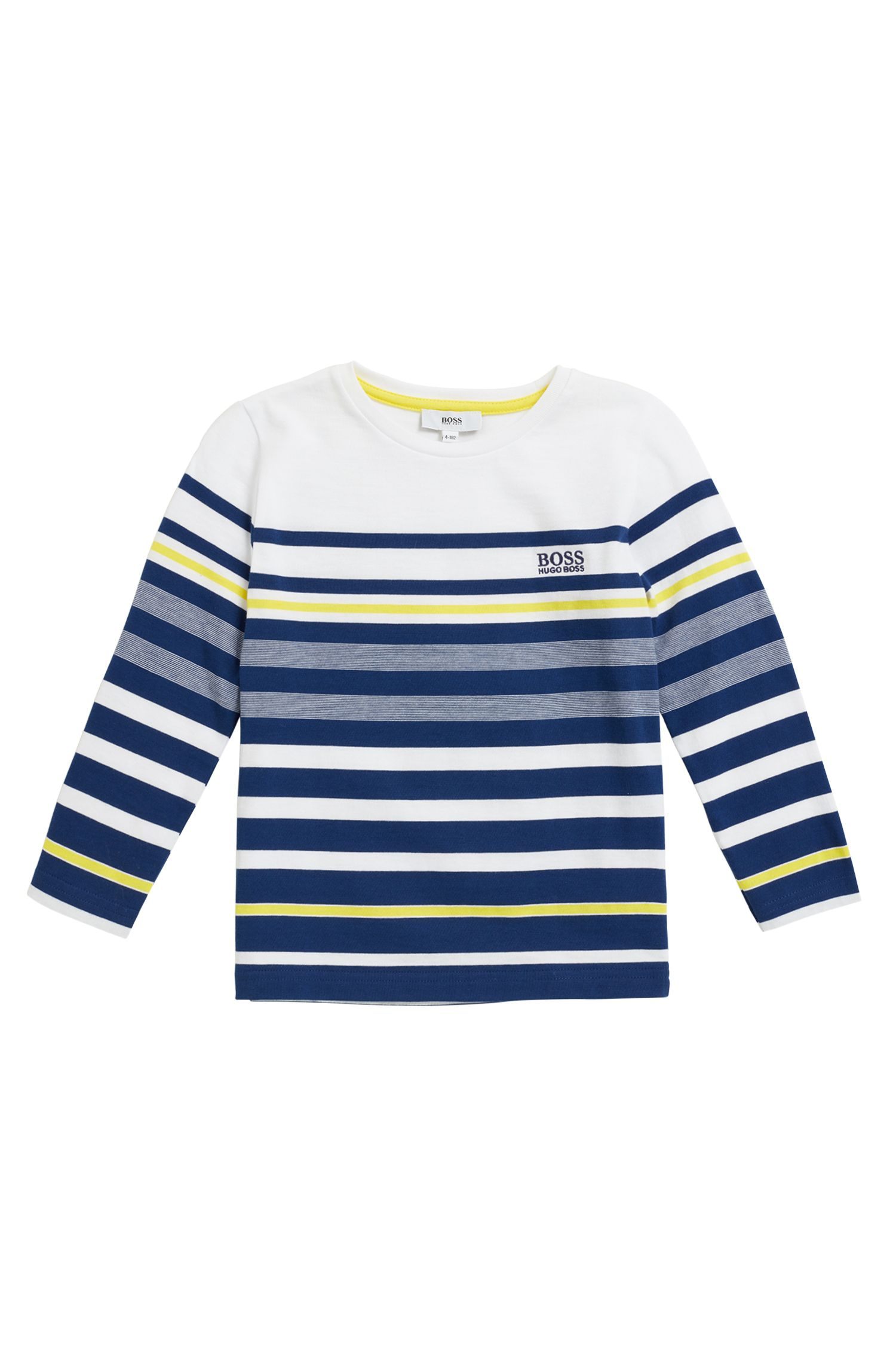Kids' long-sleeved striped T-shirt in cotton jersey