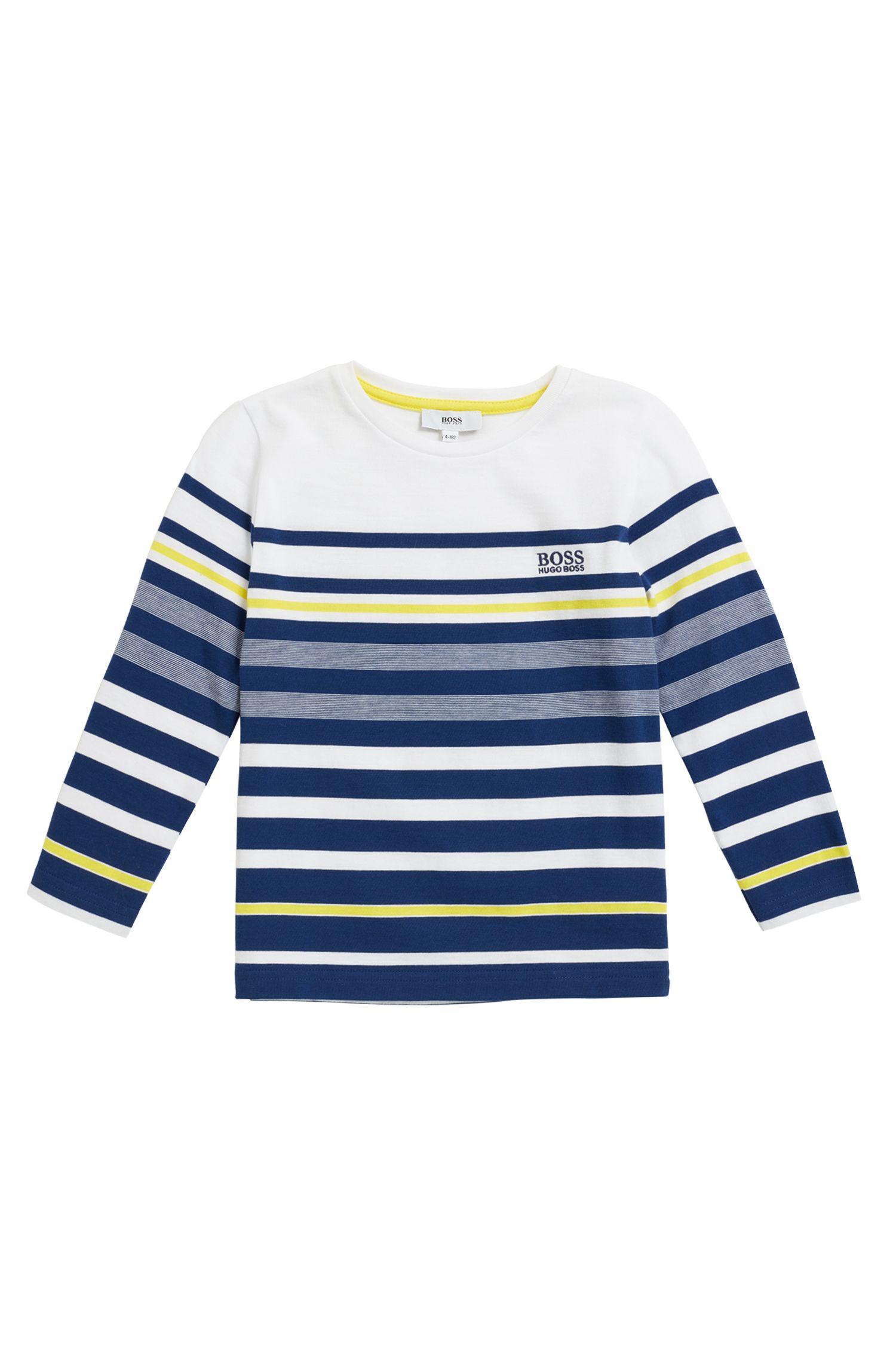 T-shirt rayé à manches longues pour enfant, en jersey de coton