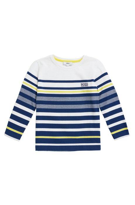 d5869923d Kids' long-sleeved striped T-shirt in cotton jersey, Dark Blue