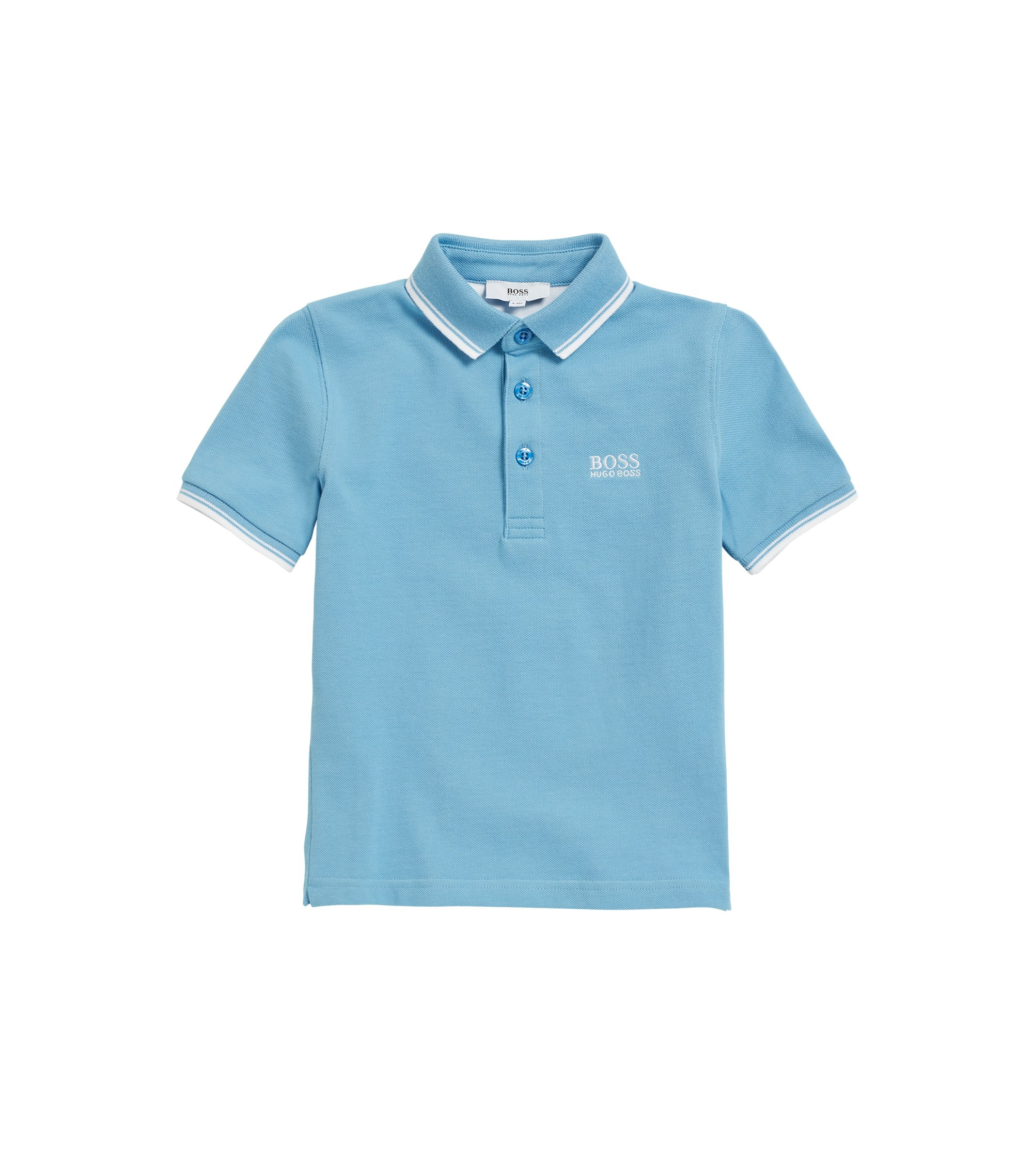 Kids' cotton polo shirt with undercollar print, Turquoise