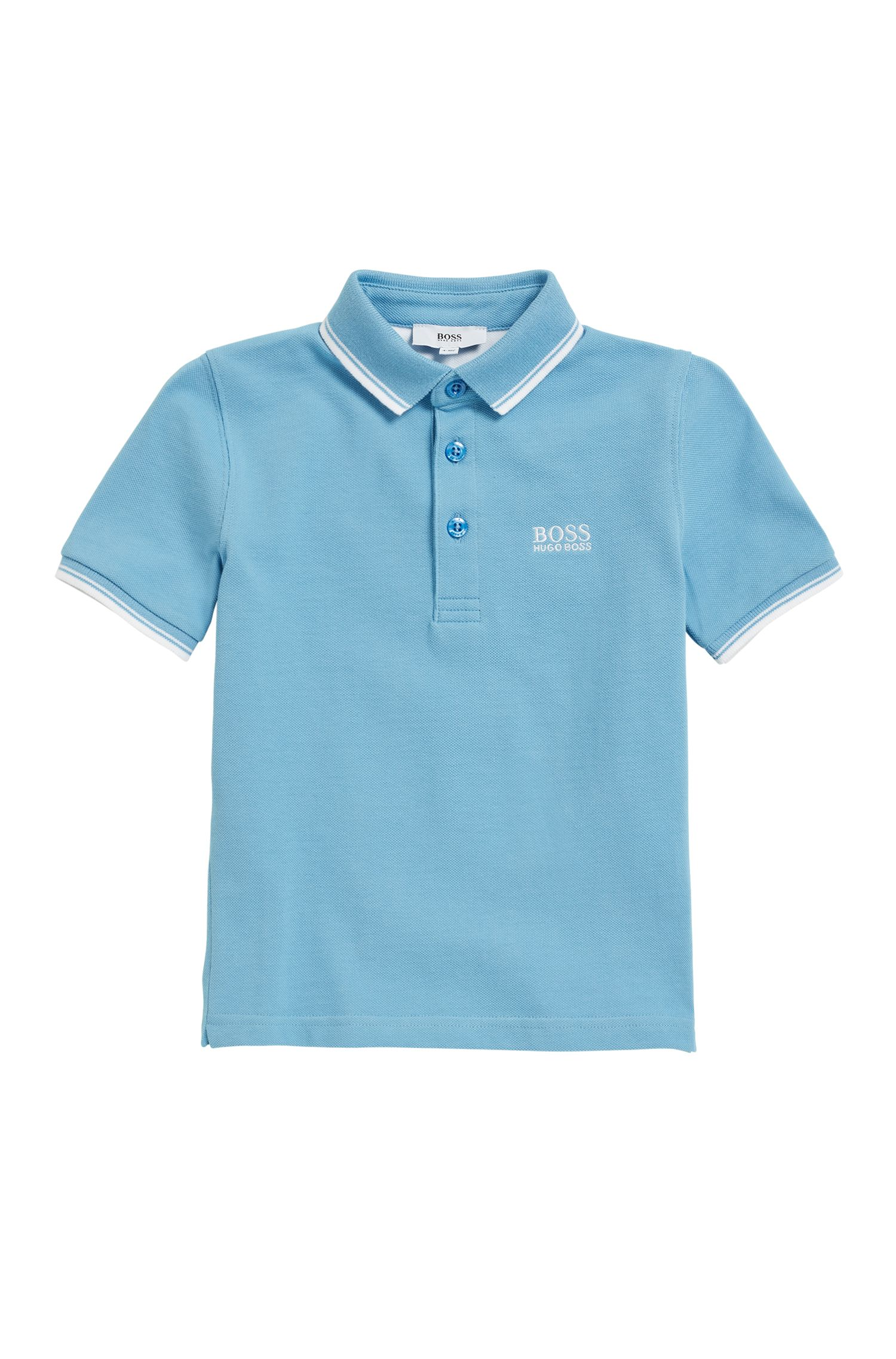 Kids' cotton polo shirt with undercollar print