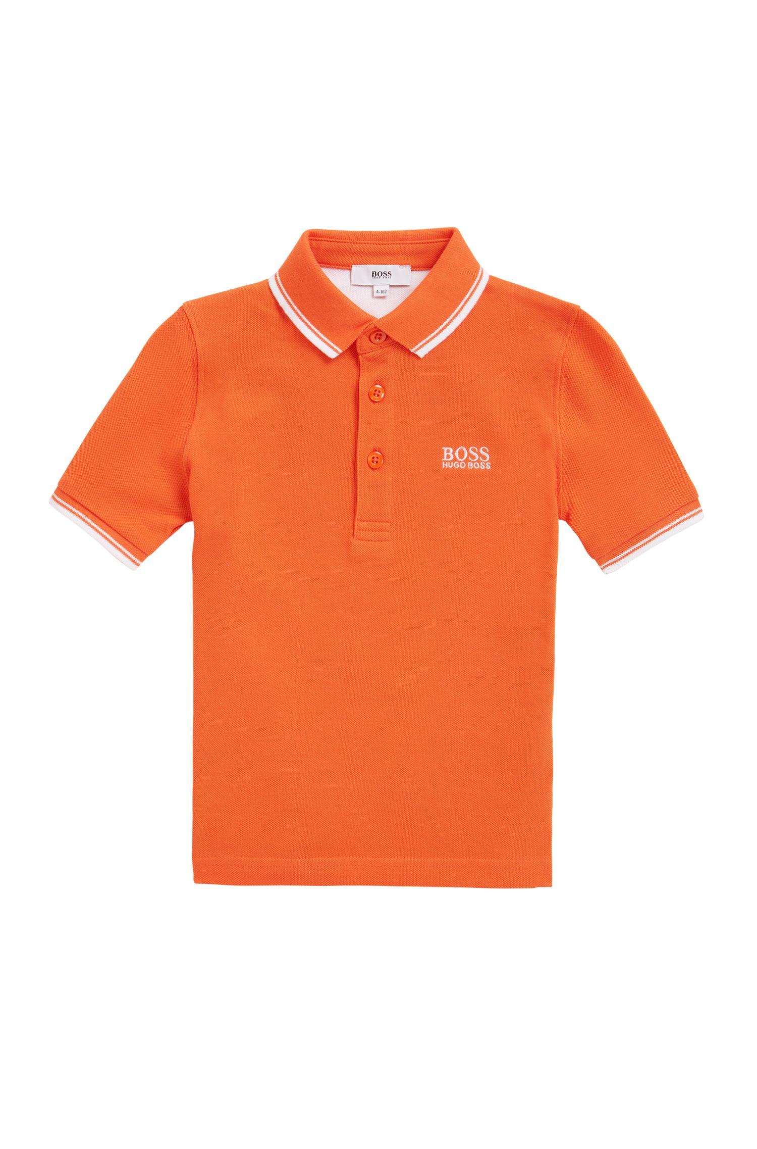 Kids-Poloshirt aus Baumwolle mit bedruckter Kragenunterseite, Orange