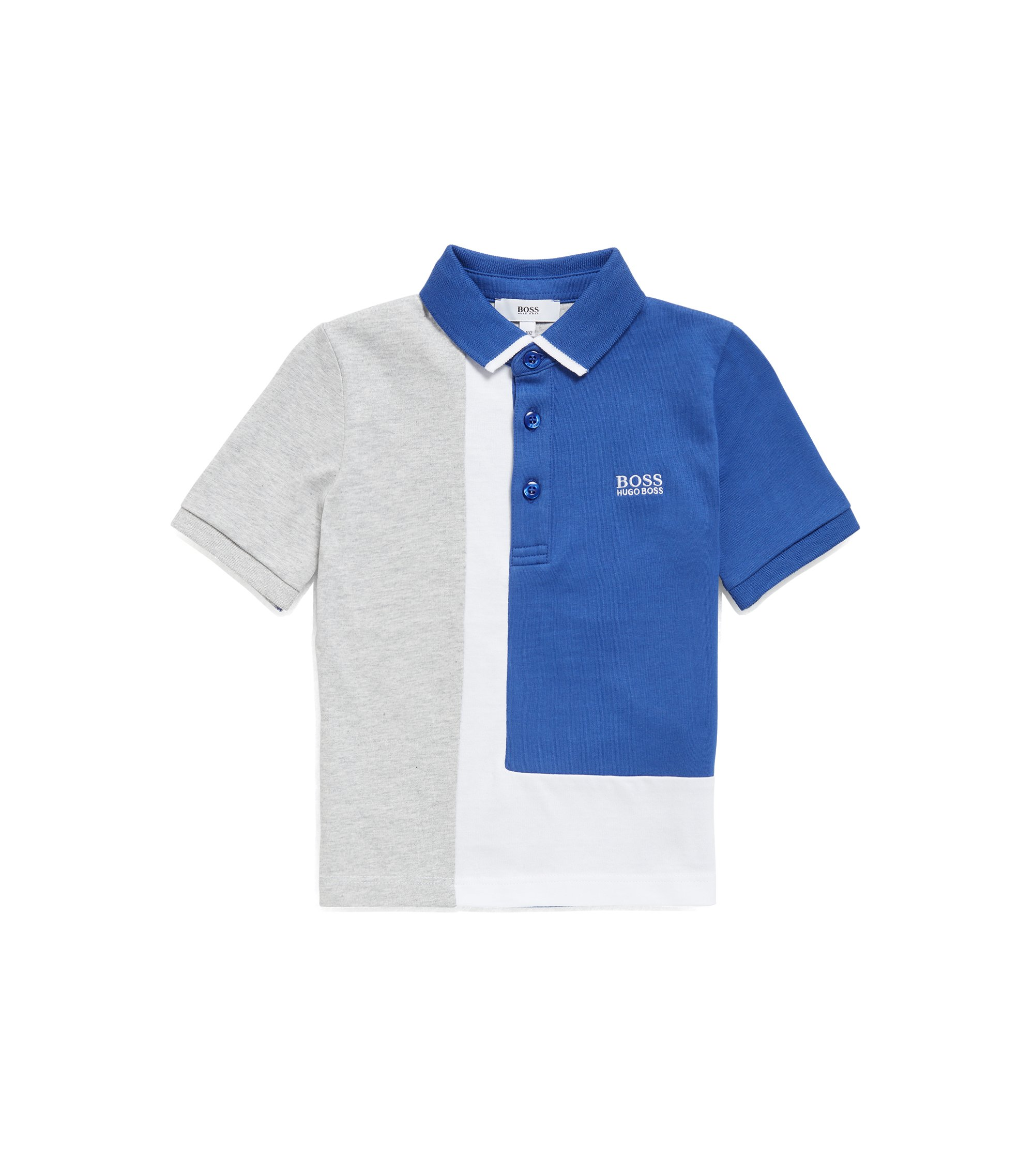 Kids' polo shirt in single-jersey cotton, Blue