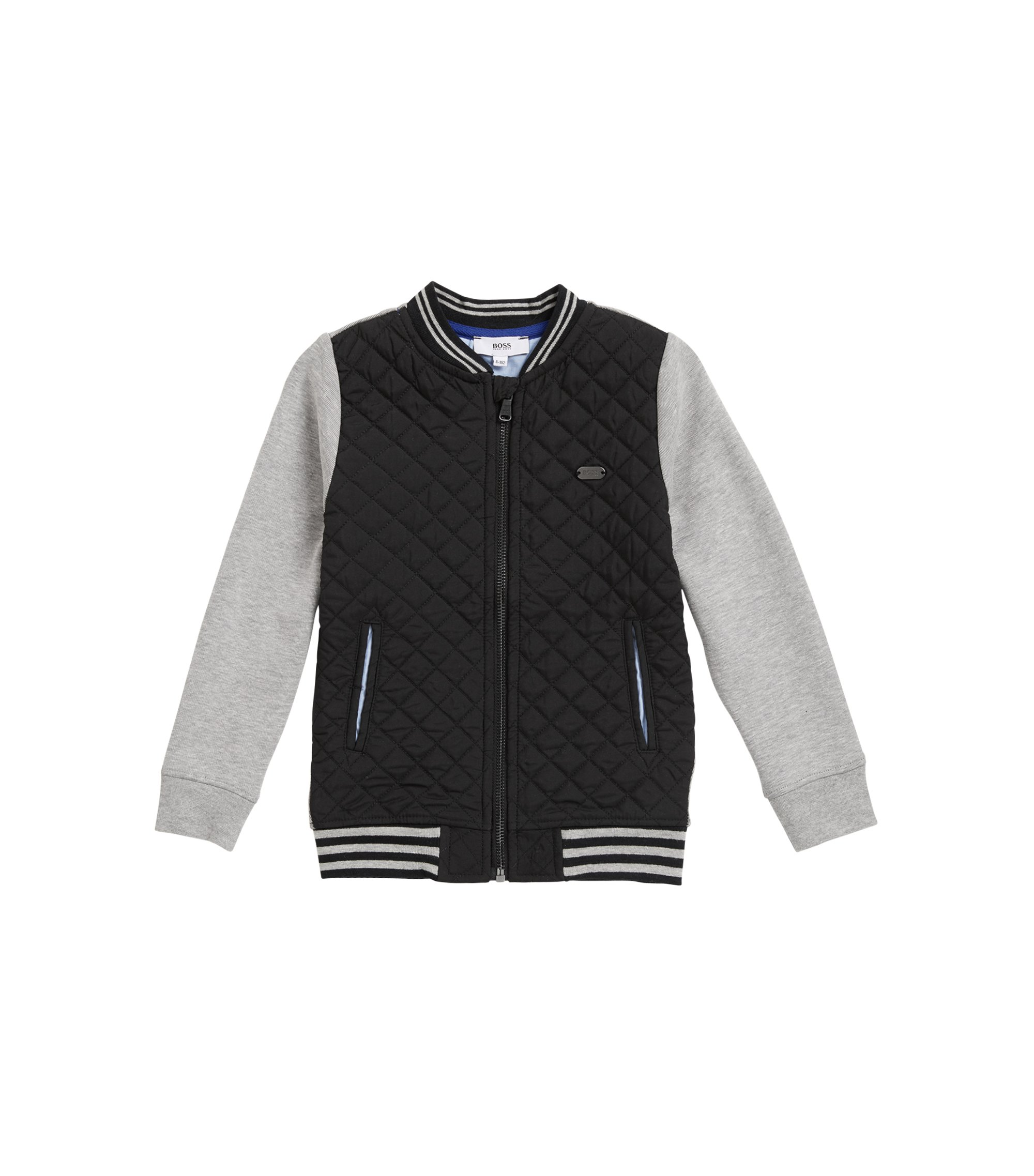 Kids' quilted twill and double-jersey jacket, Black