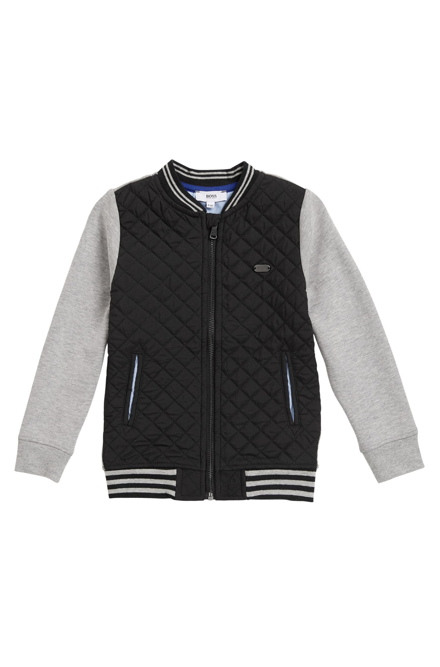 Kids' quilted twill and double-jersey jacket