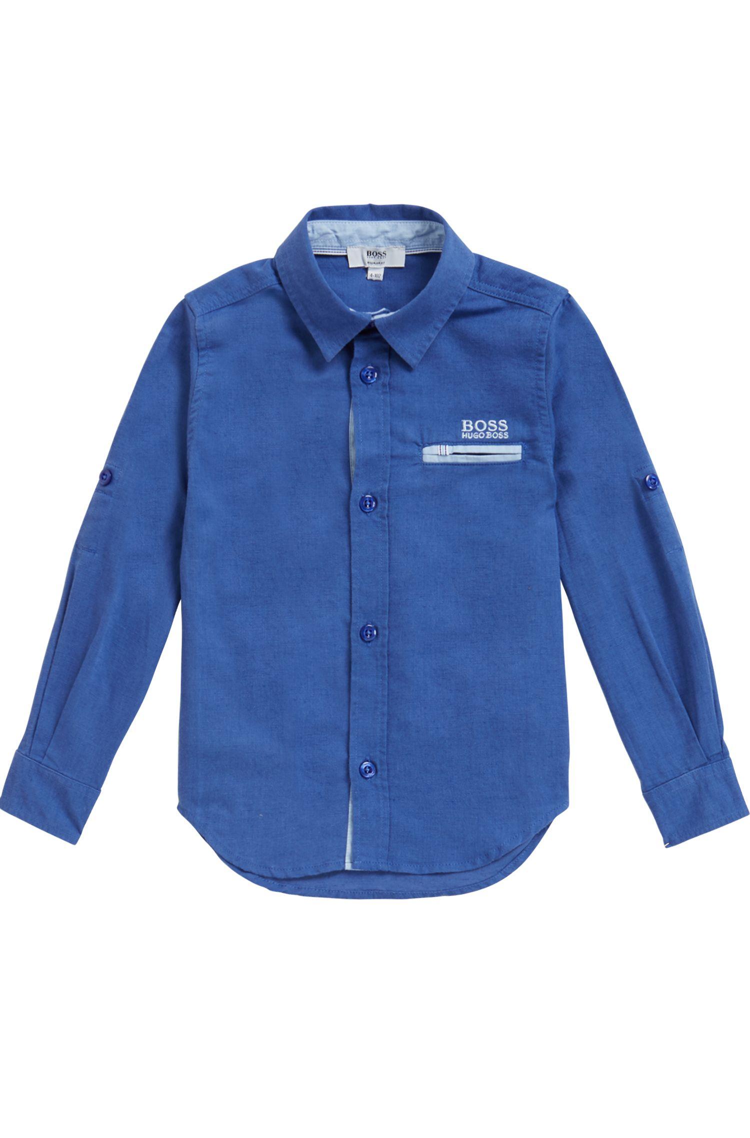 Kinderoverhemd van een lichte materiaalmix, Blauw