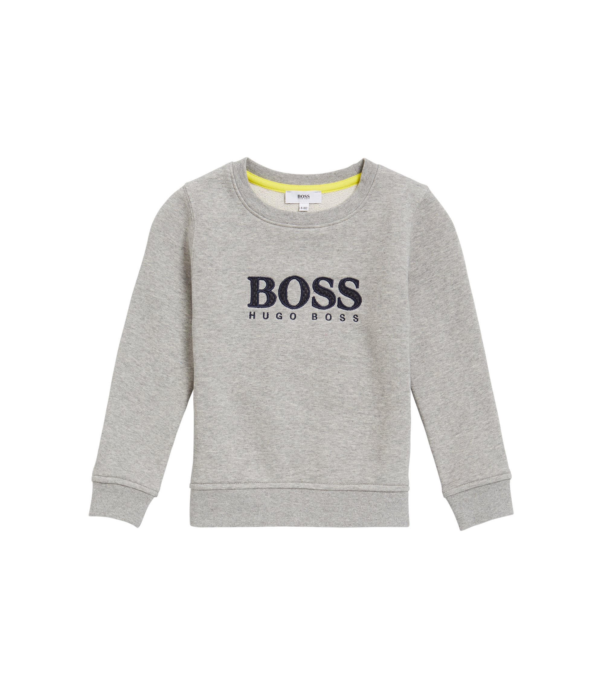 Kids' logo sweatshirt in French terry, Light Grey