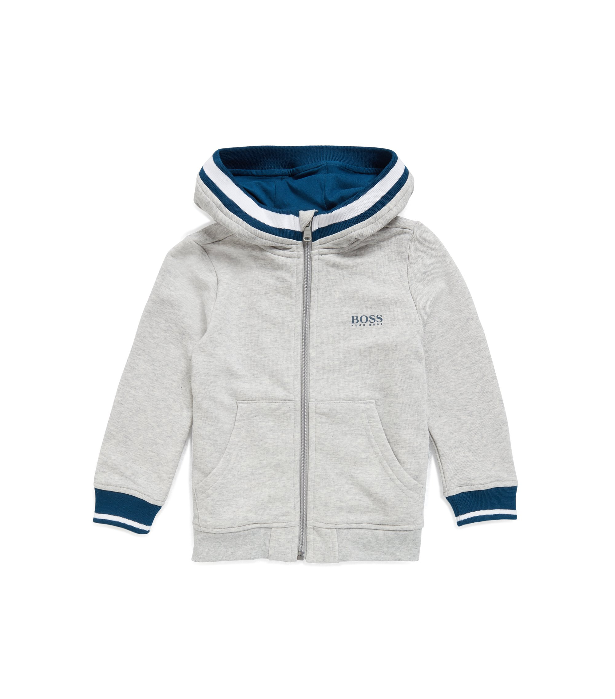 Kids' zip-through hooded jacket in French terry, Light Grey