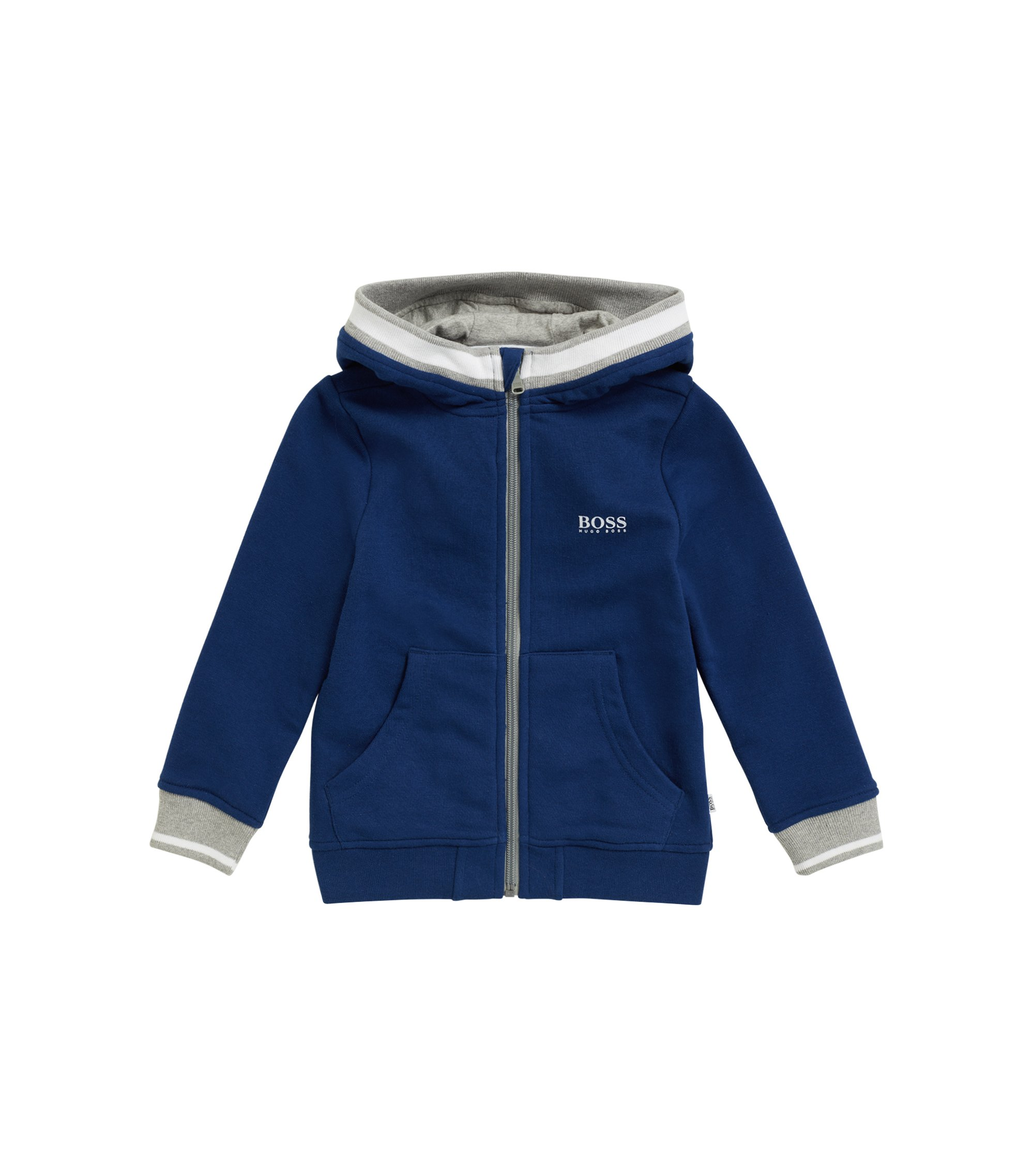 Kids' zip-through hooded jacket in French terry, Dark Blue