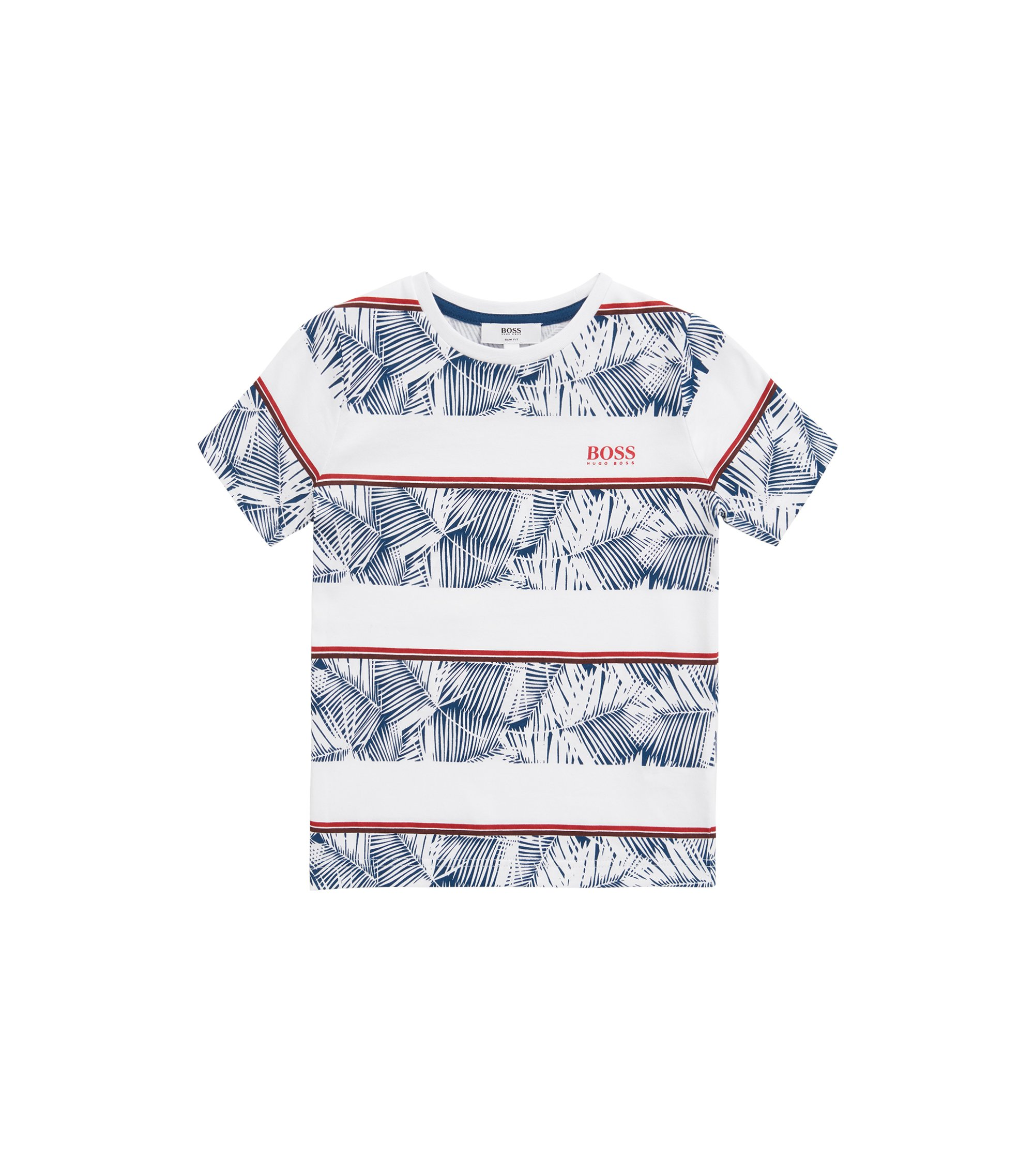 Kids' striped T-shirt in single-jersey cotton, White