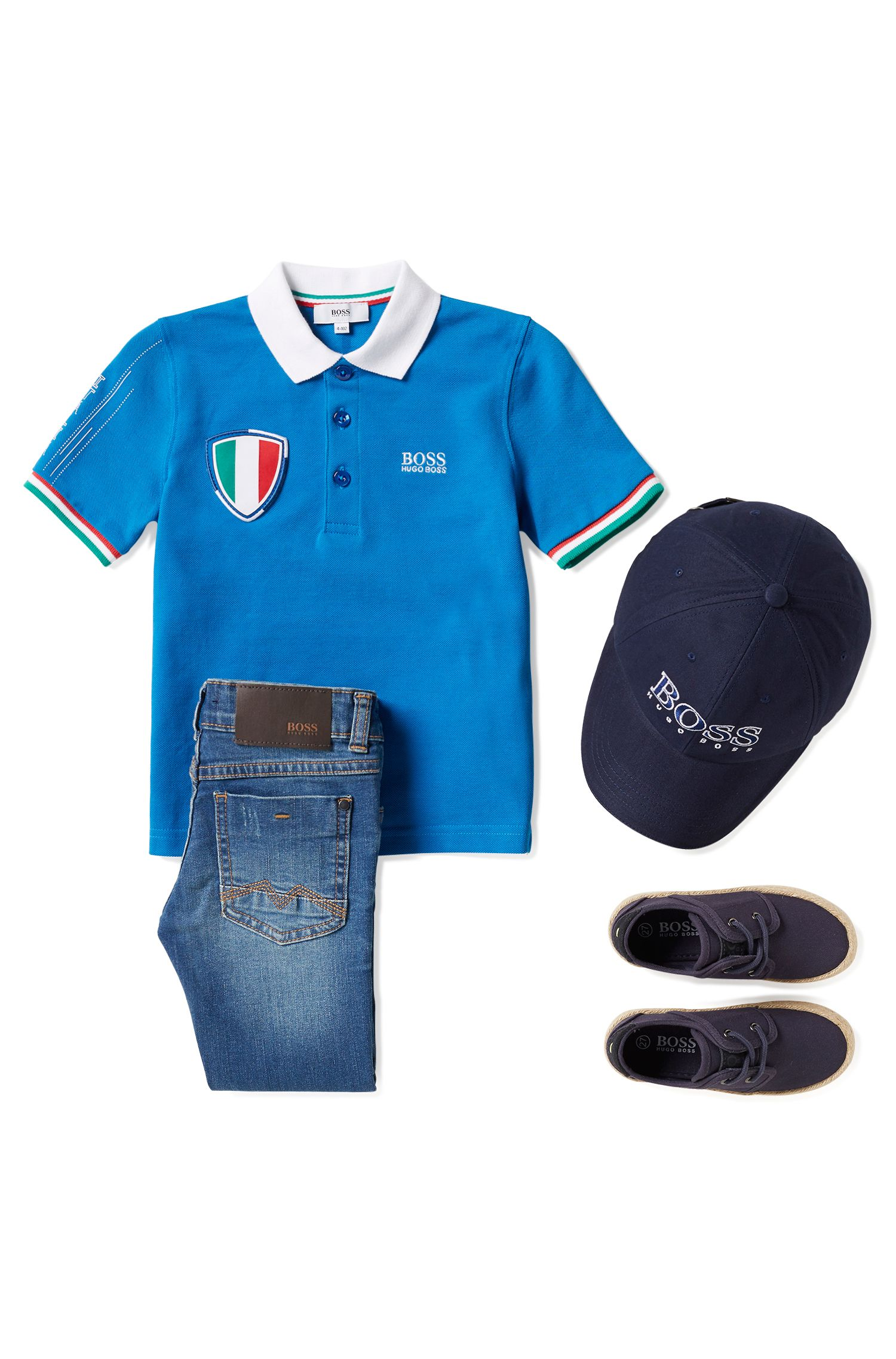 Polo pour enfant en maille piquée aux couleurs de l'équipe d'Italie