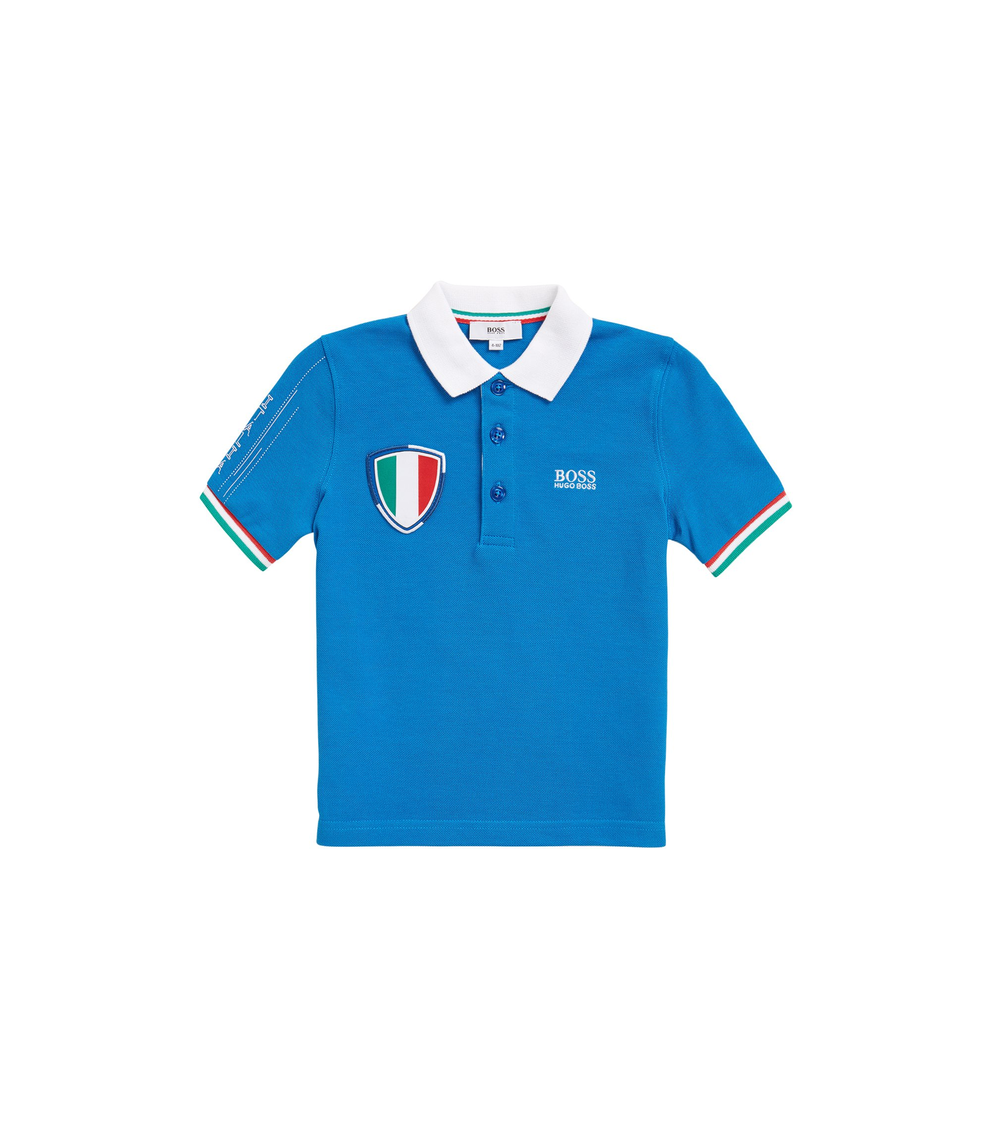 Kids' piqué polo shirt in Italy's team colours, Blue