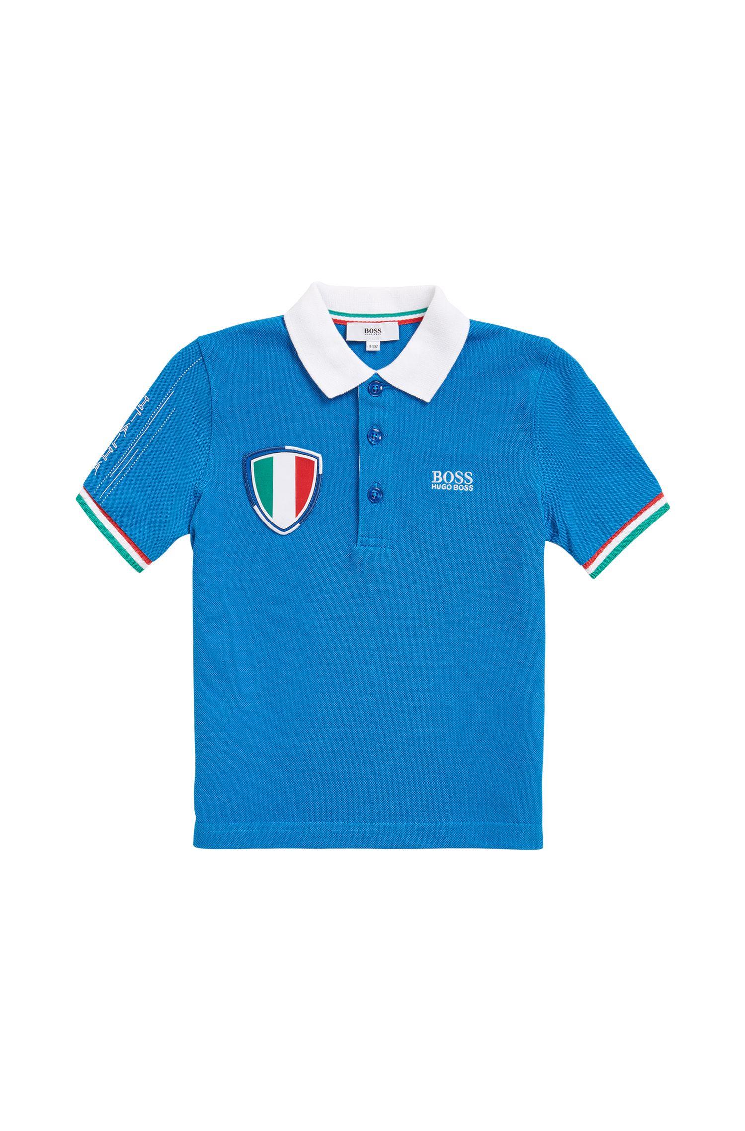 Kinderpolo in piqué in de kleuren van het Italiaanse voetbalteam