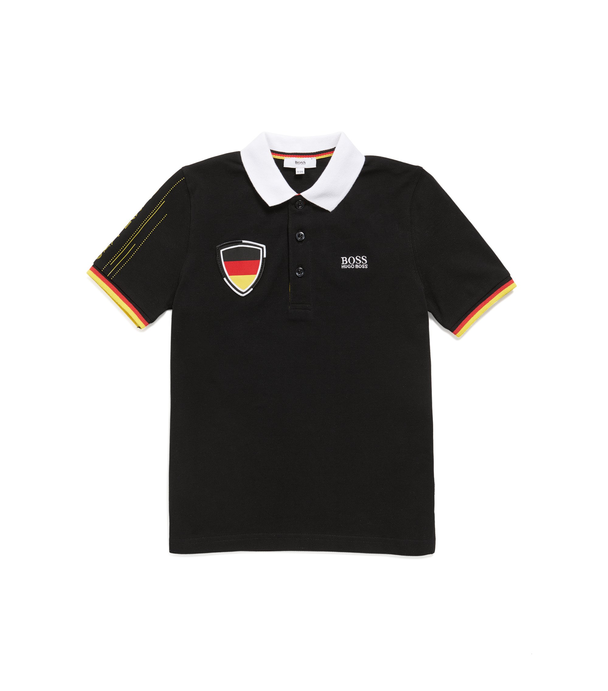 Kids' piqué polo shirt in Germany's team colours, Patterned
