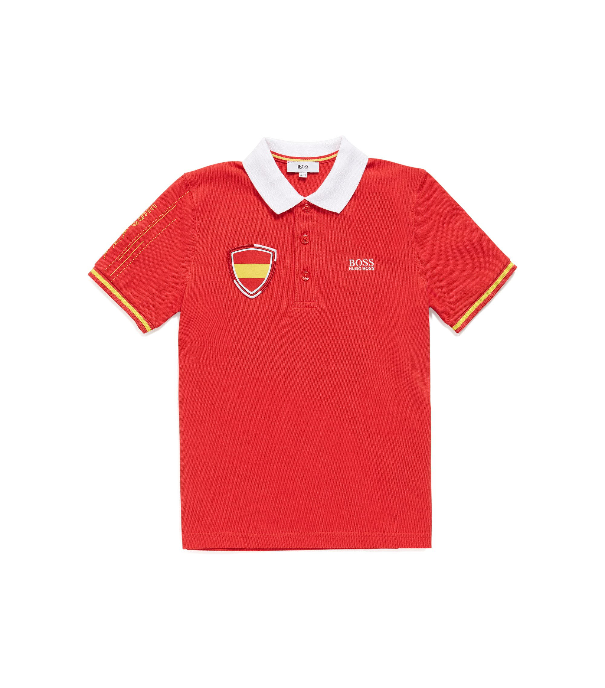 Kids' piqué polo shirt in Spain's team colours, Patterned