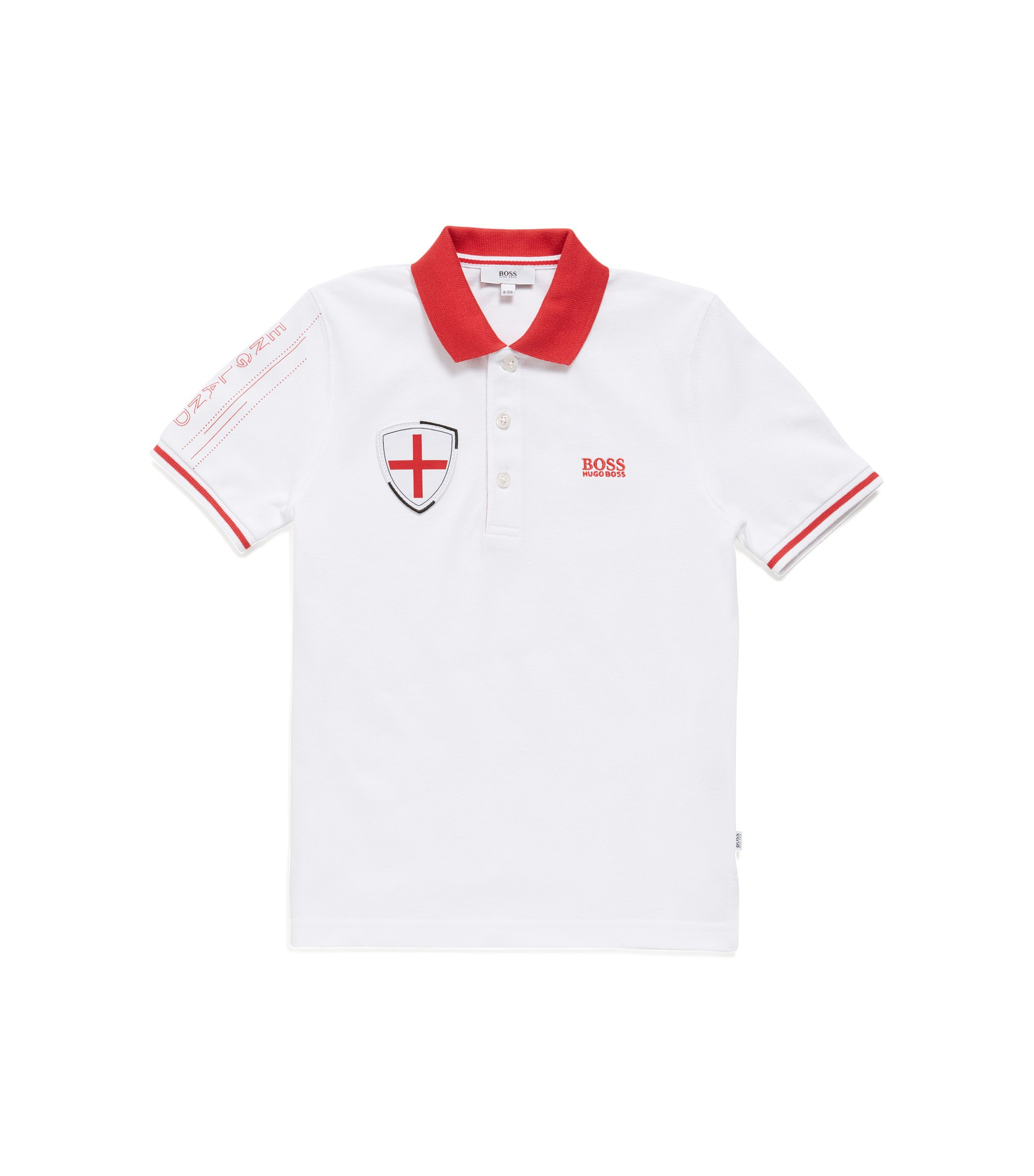 Kids' piqué polo shirt in England's team colours, Patterned