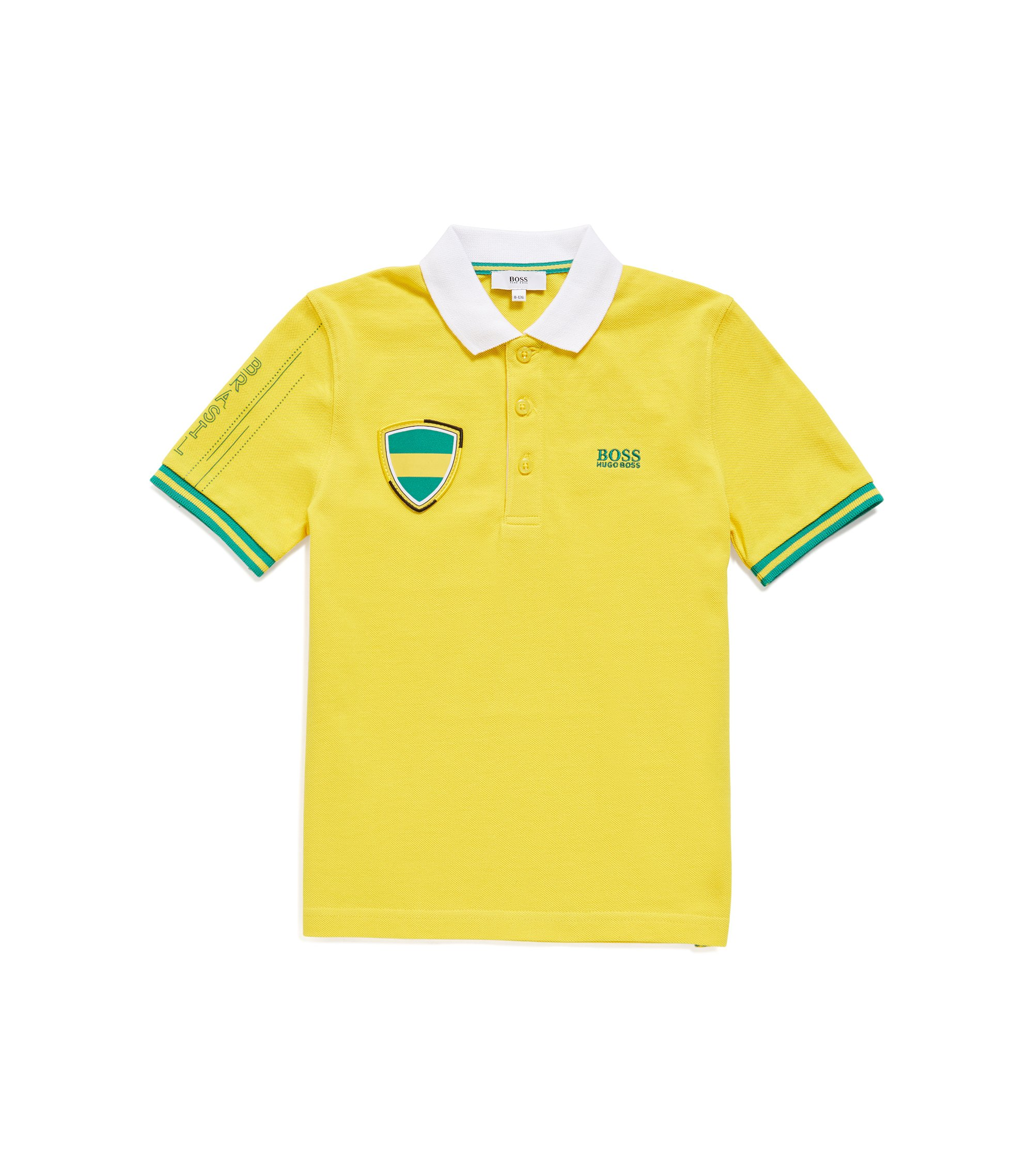 Kids' piqué polo shirt in Brazil's team colours, Patterned