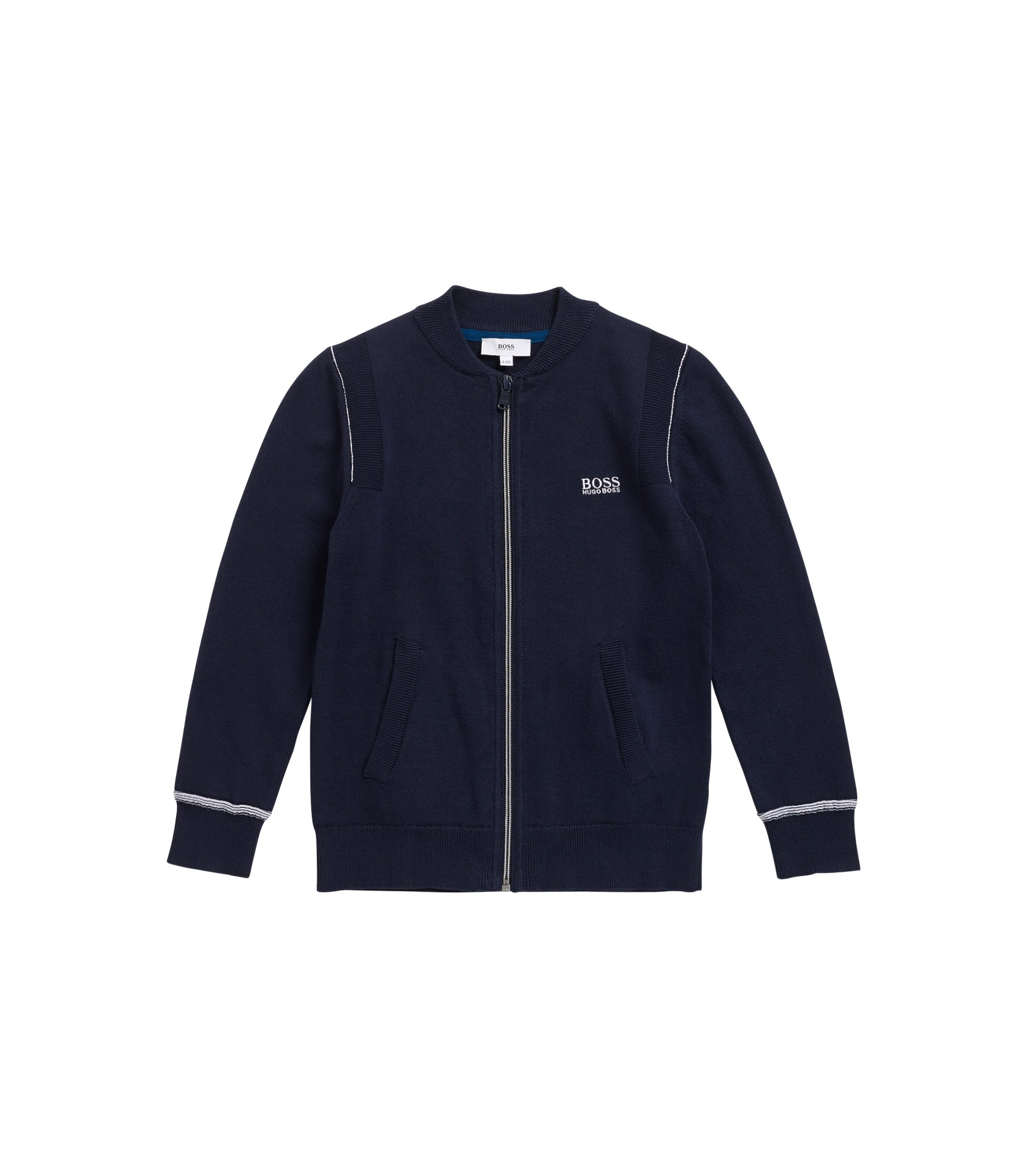 Kids' zip-through cardigan in combed cotton, Dark Blue