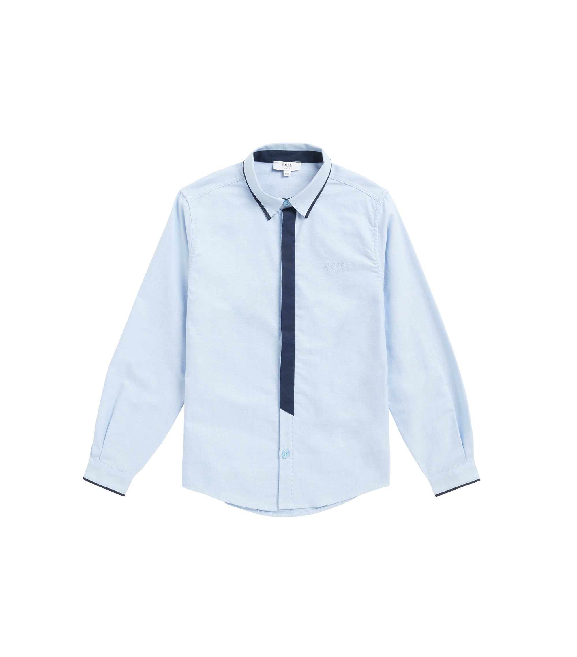 Kids' regular-fit shirt in Oxford cotton with contrast details, Light Blue