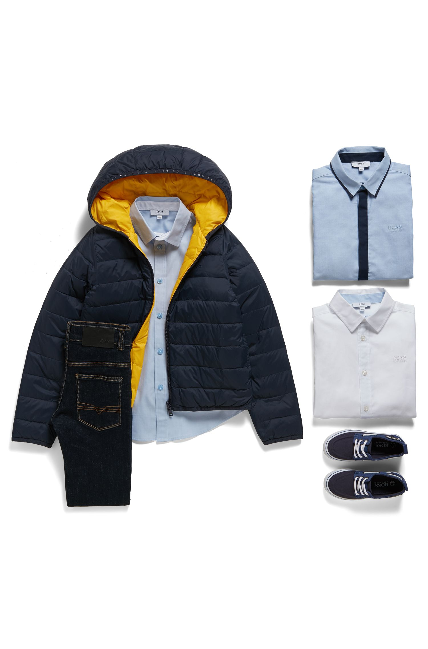 Regular-Fit Kids-Hemd aus Baumwolle mit Kontrast-Details, Hellblau