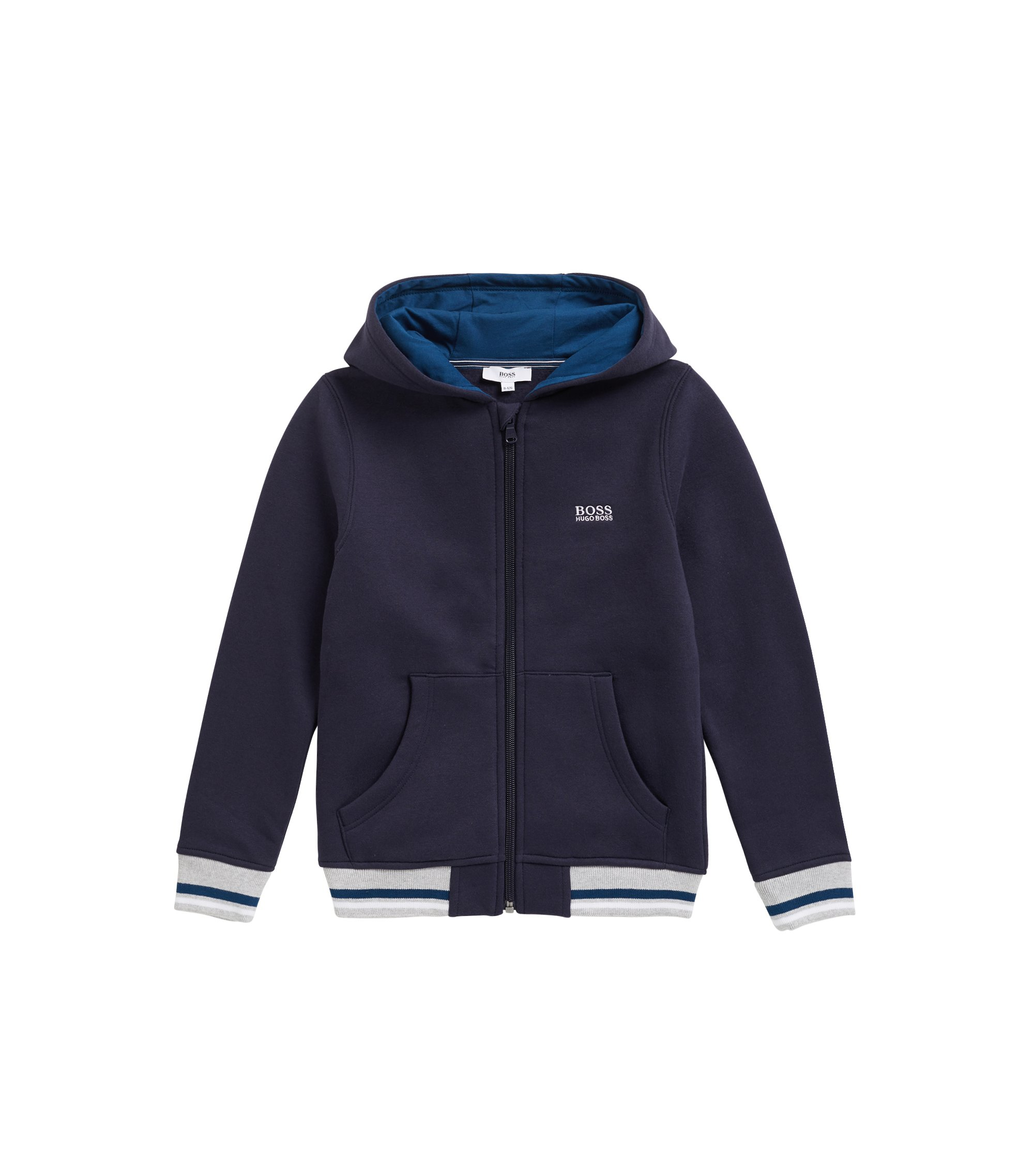 Kids' regular-fit loungewear jacket in cotton-blend fleece, Dark Blue