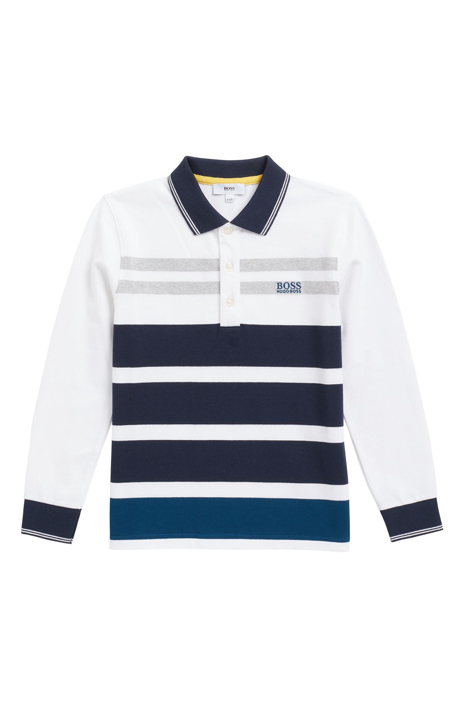 Gestreiftes Kids Longlseeve-Poloshirt aus elastischem Baumwoll-Piqué, Gemustert