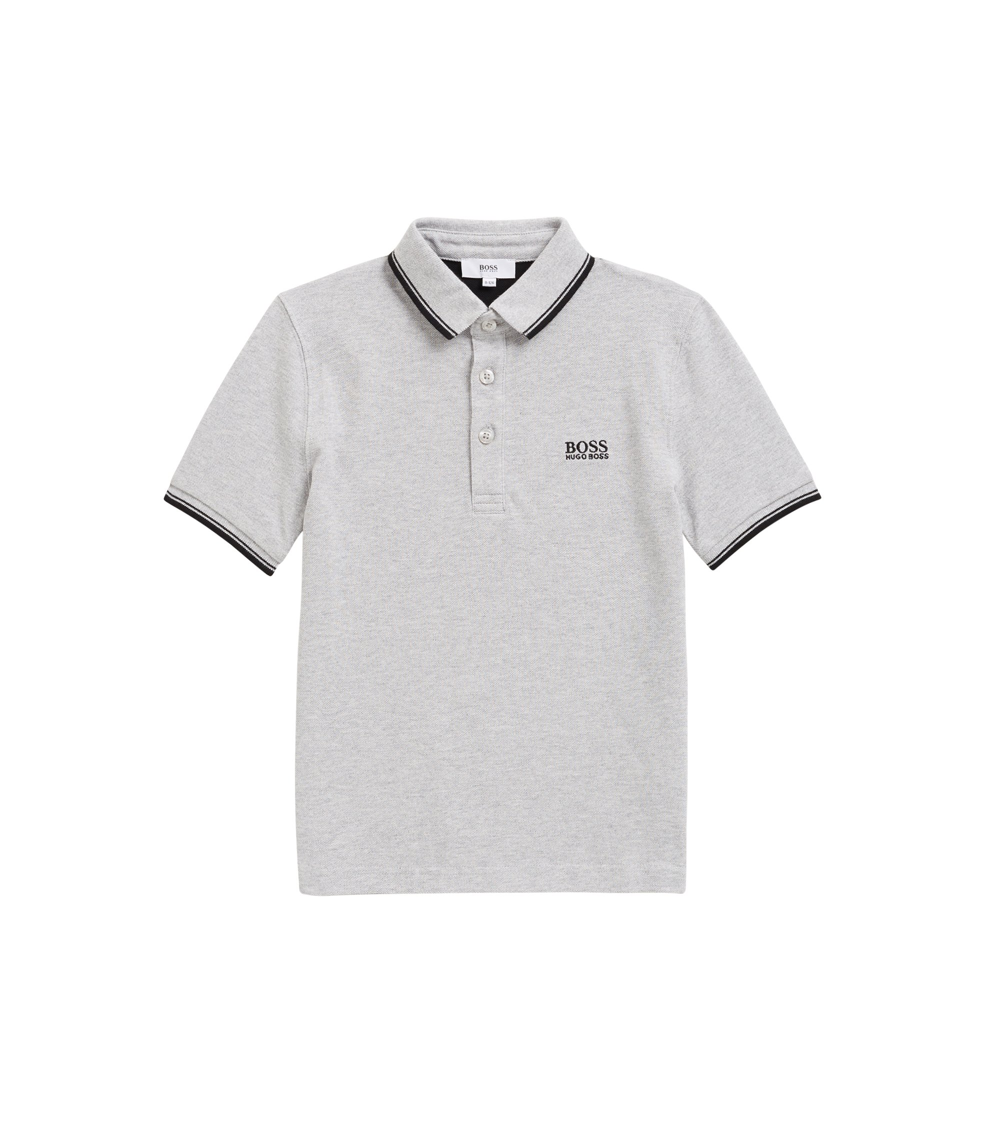 Kids' polo shirt in cotton-piqué with undercollar logo, Light Grey