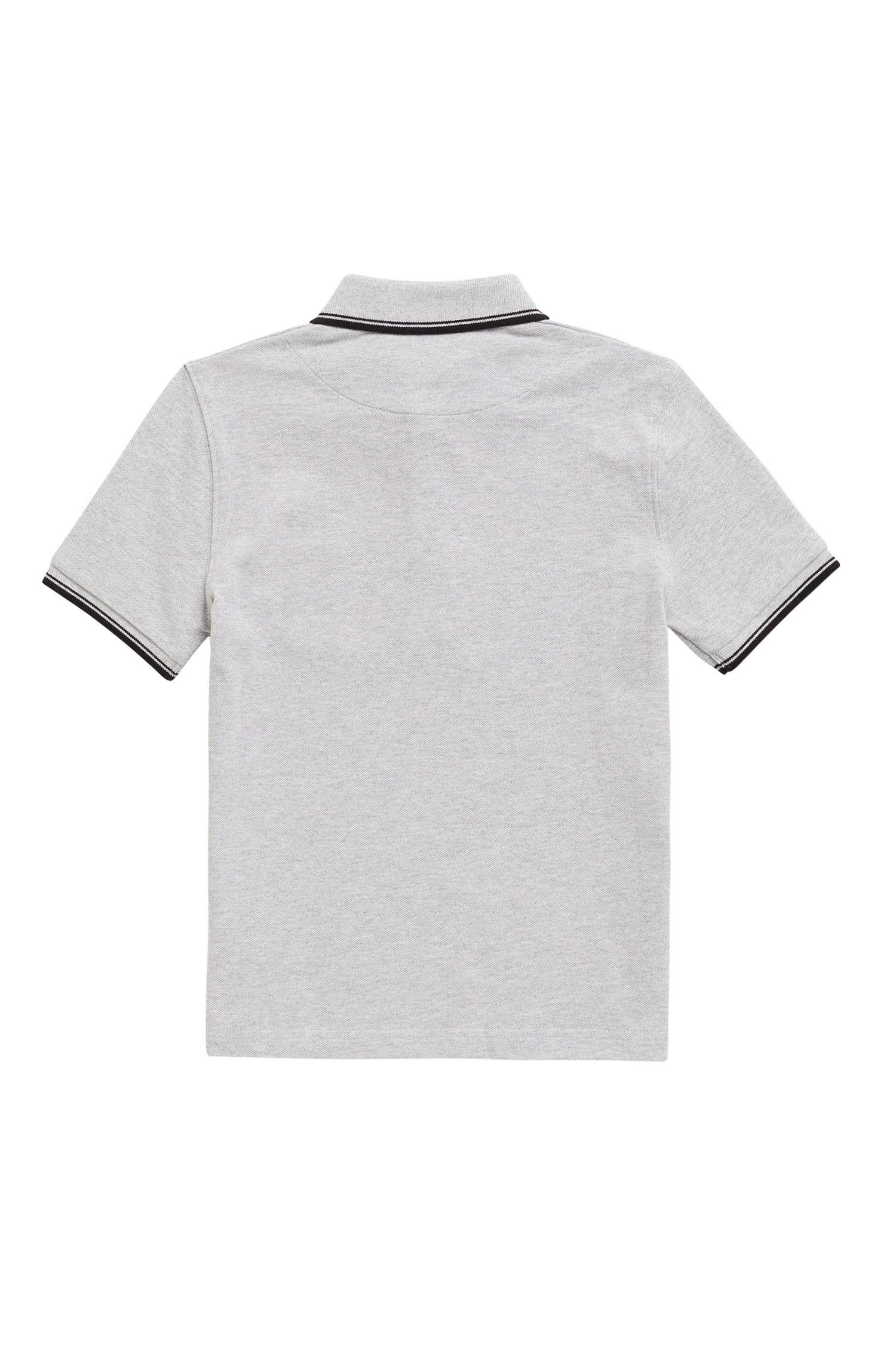 Polo de piqué de algodón para niños con logo en el interior del cuello, Gris claro