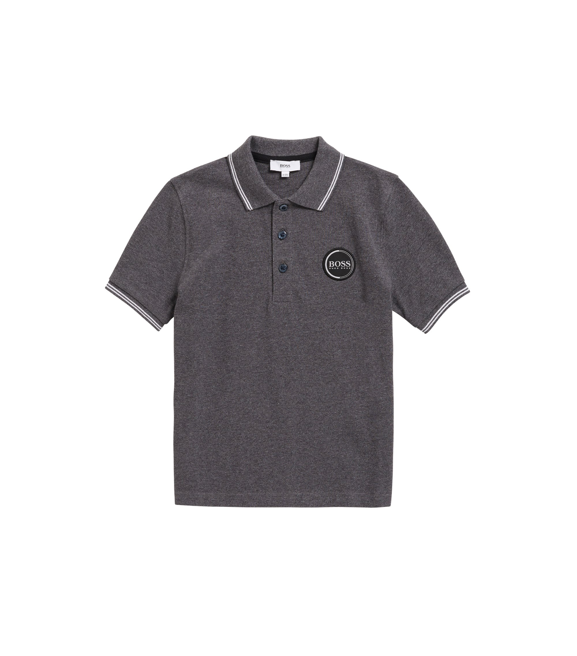Kids' short-sleeved polo shirt with high-density logo print, Anthracite