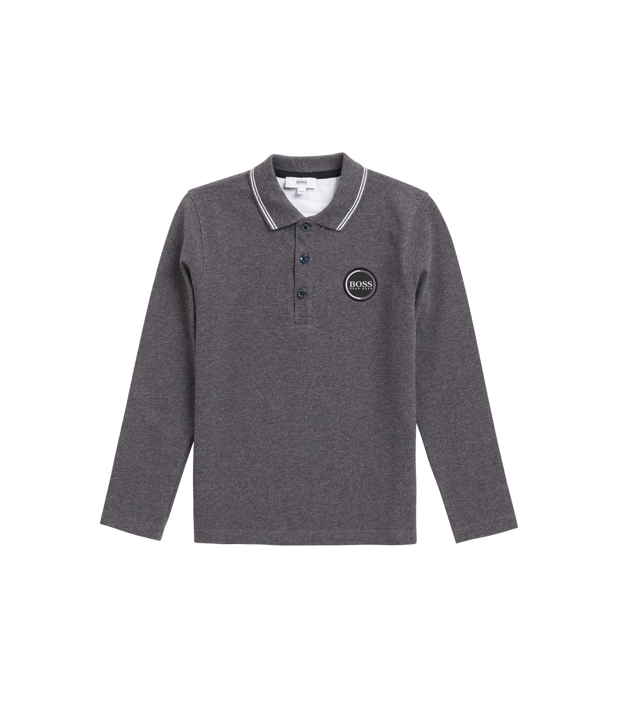Polo pour enfant en piqué de coton avec logo imprimé dans le dos, Anthracite