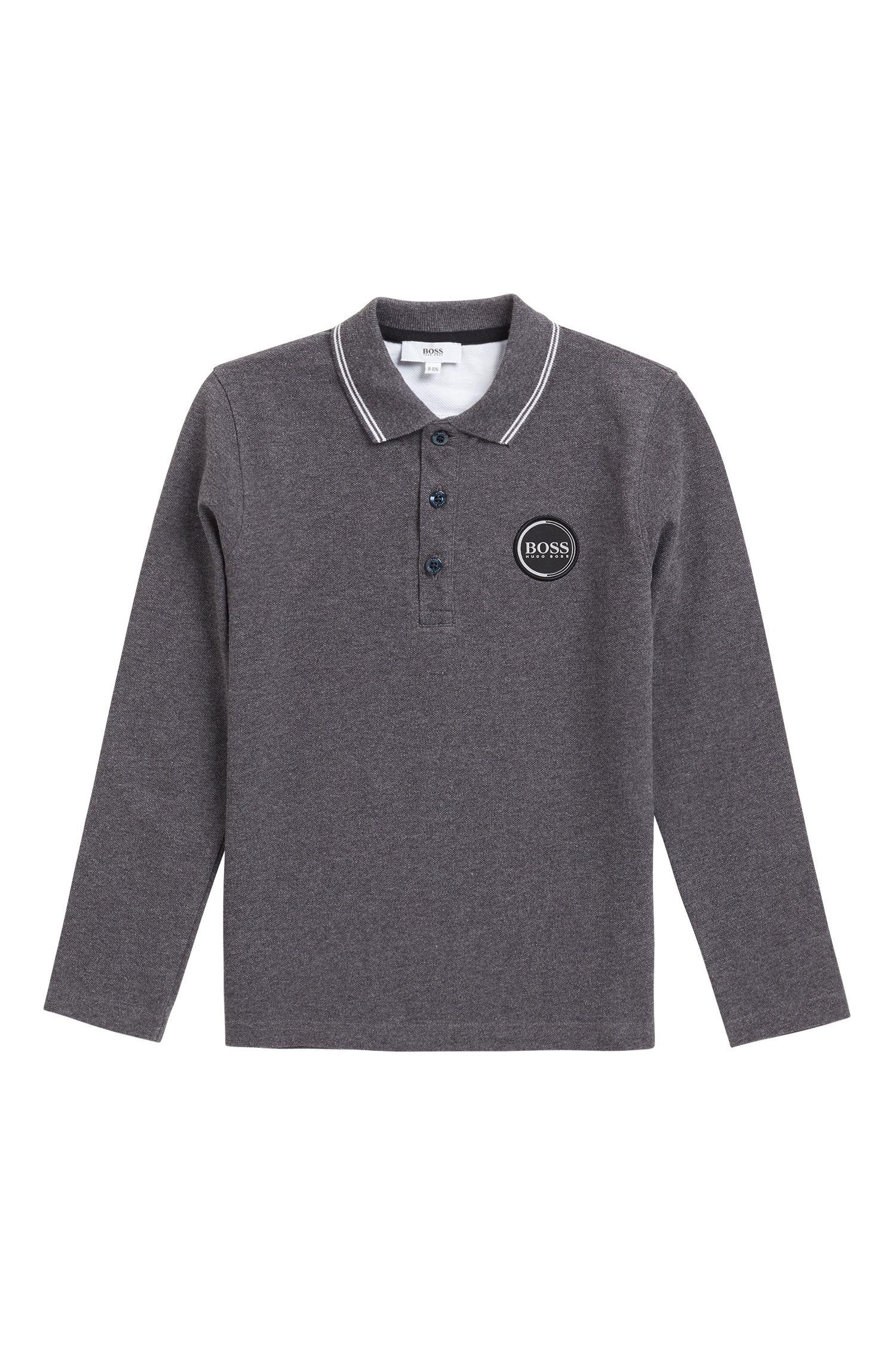 Kids-Poloshirt aus Baumwoll-Piqué mit Logo-Print hinten, Anthrazit