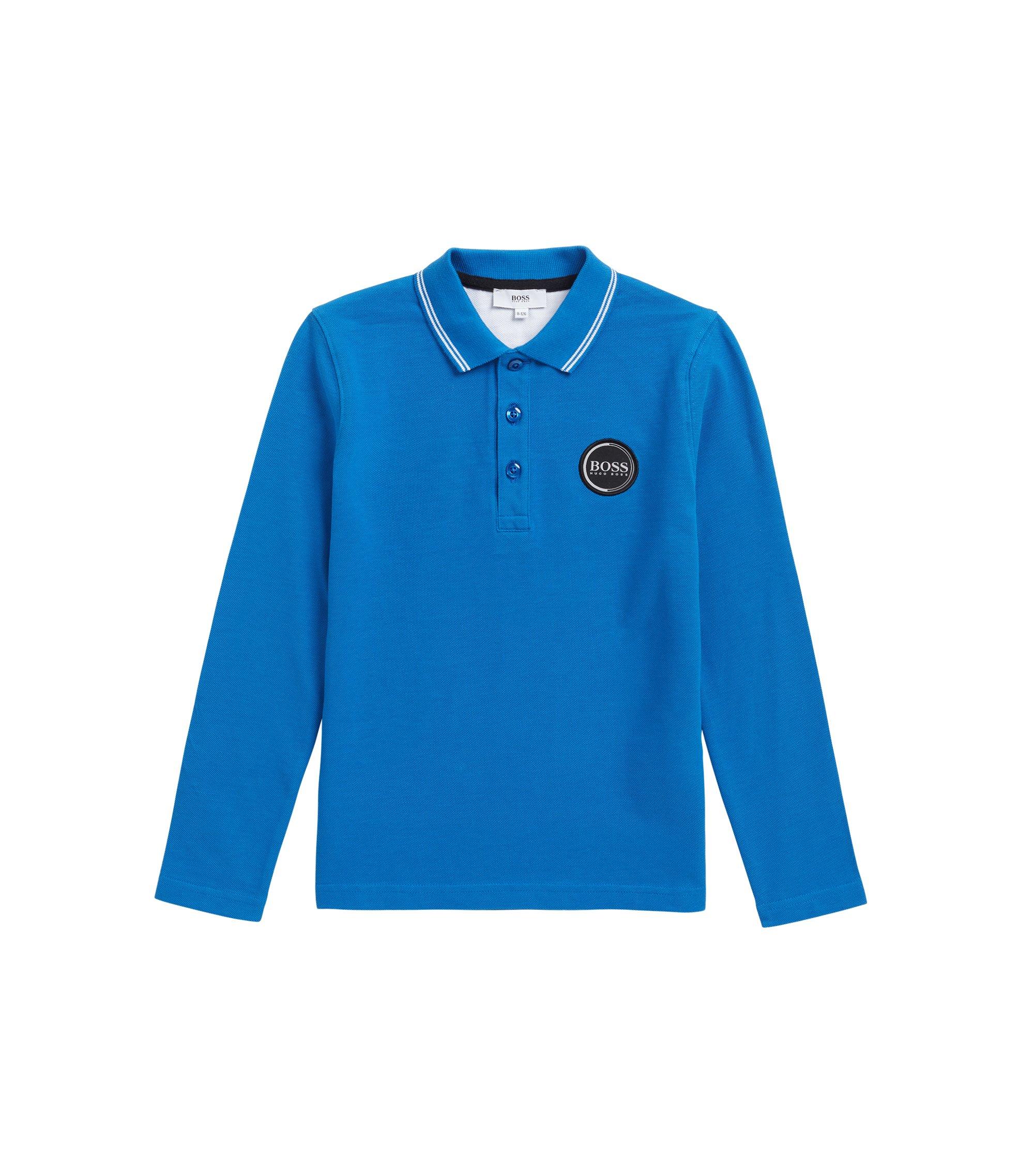 Polo pour enfant en piqué de coton avec logo imprimé dans le dos, Bleu