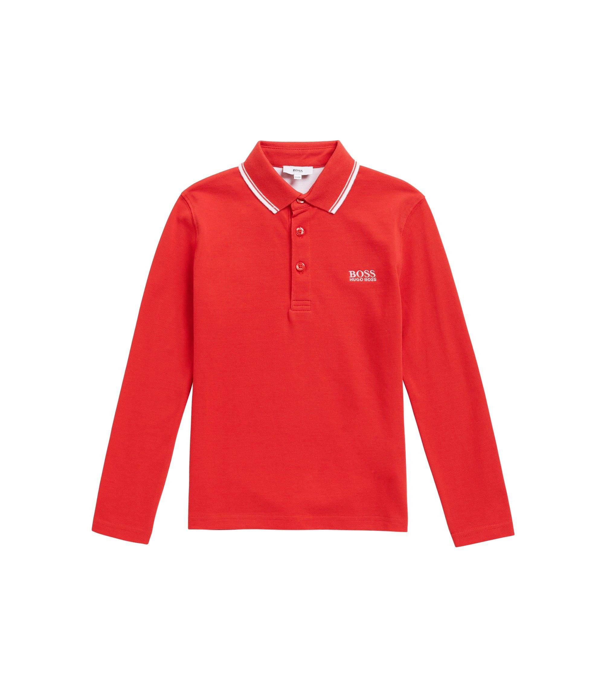 Polo pour enfant en piqué de coton à imprimé au niveau du sous-col, Rouge