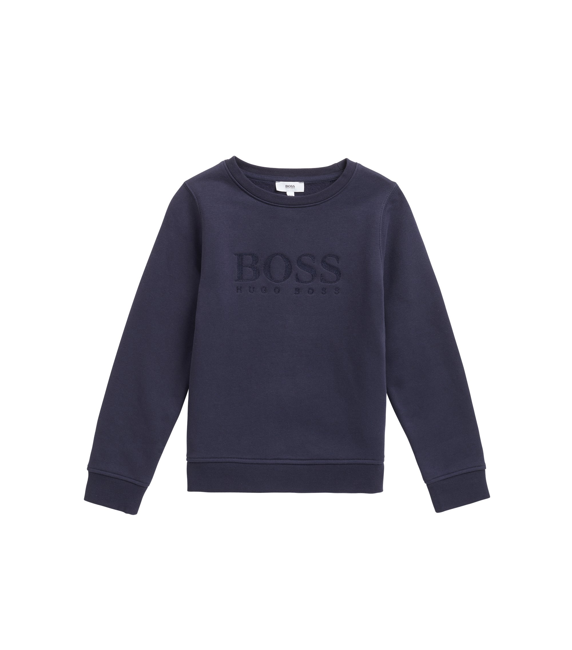 Kids' cotton-blend sweatshirt with logo embroidery, Dark Blue