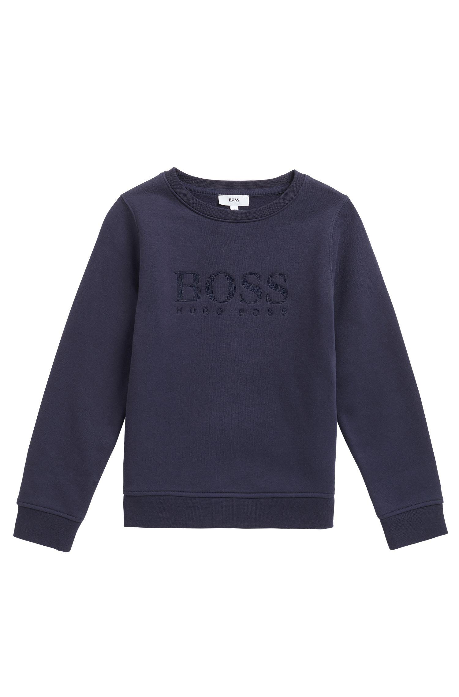 Kindersweater van een katoenmix met logostiksel, Donkerblauw