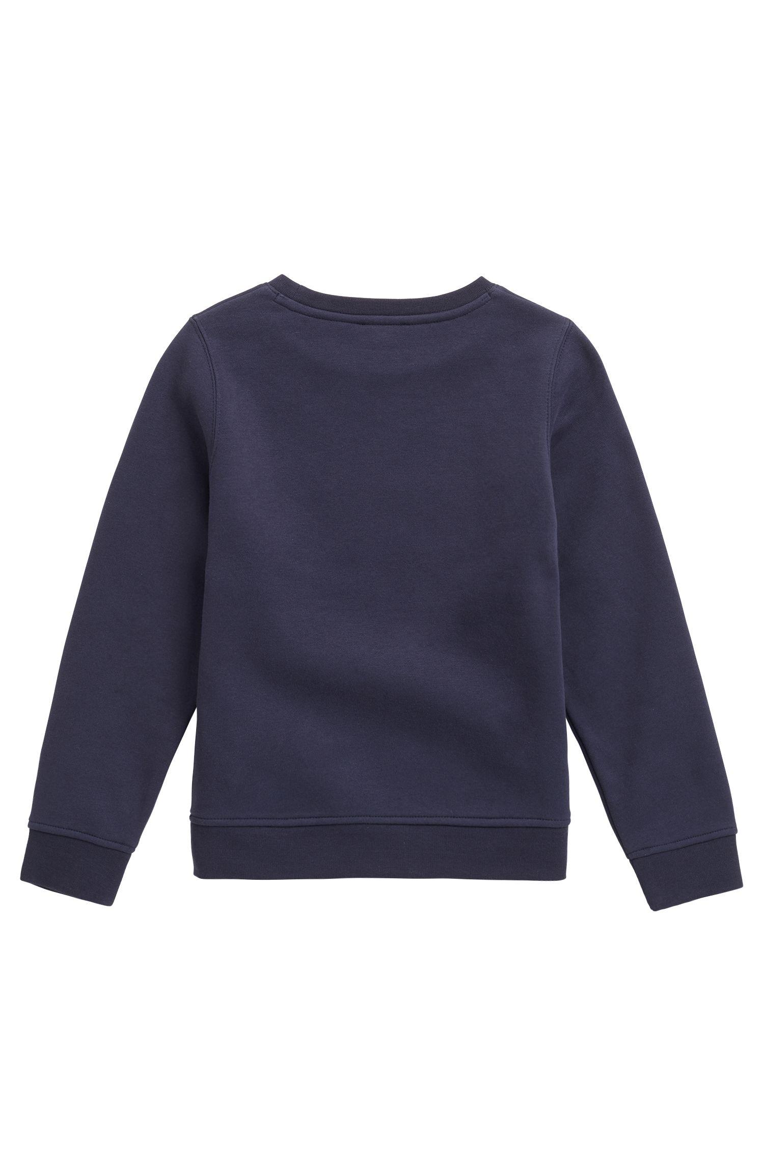 Sweat pour enfant en coton mélangé avec logo brodé, Bleu foncé