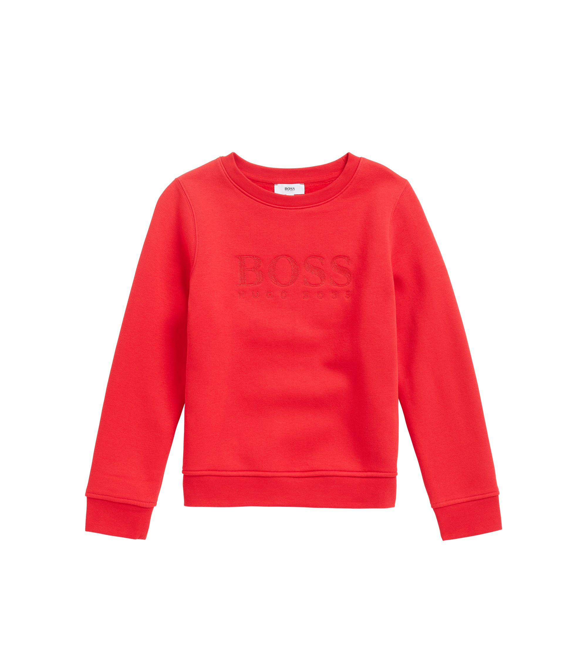 Kids' cotton-blend sweatshirt with logo embroidery, Red