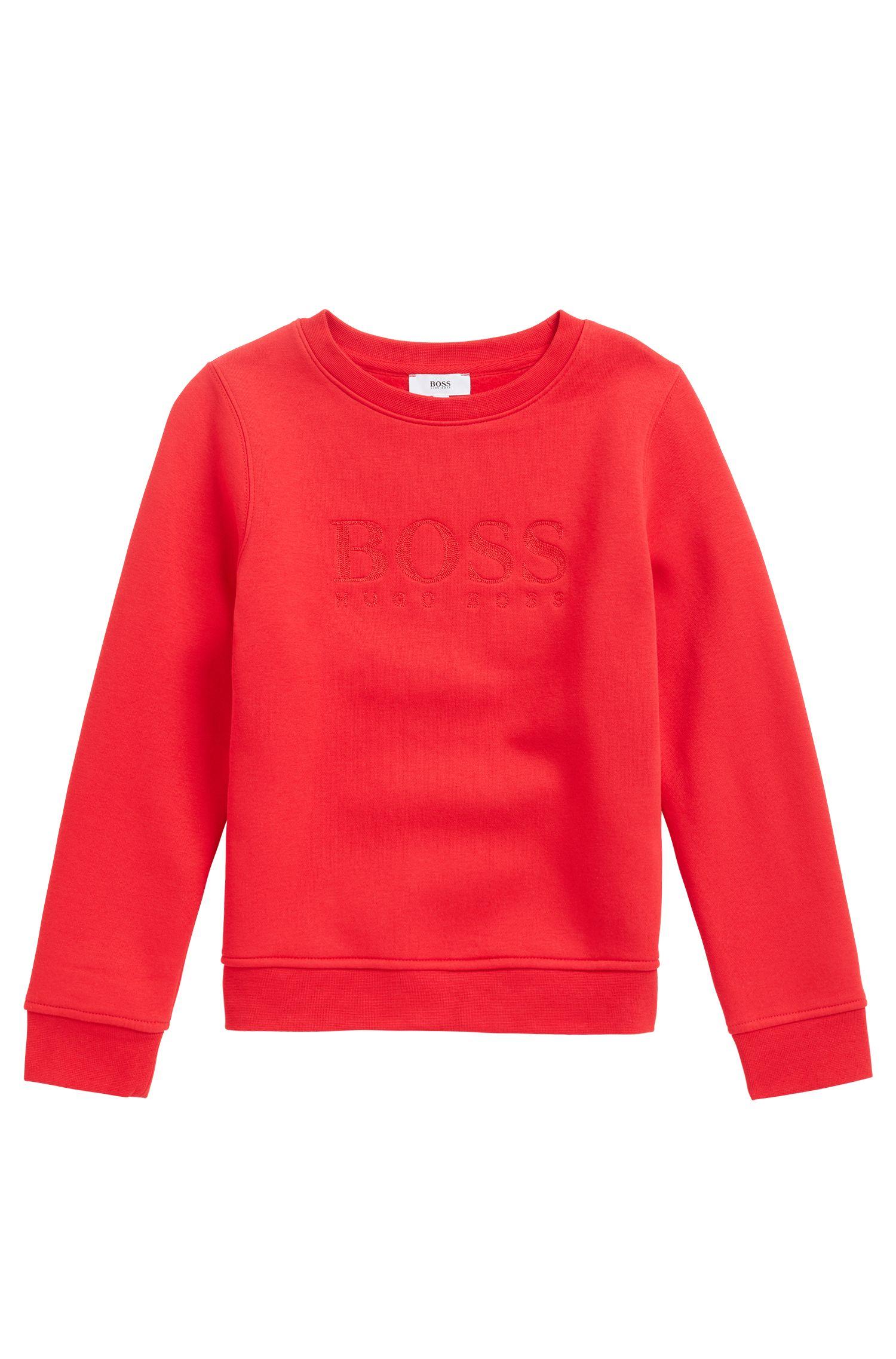Sweat pour enfant en coton mélangé avec logo brodé, Rouge