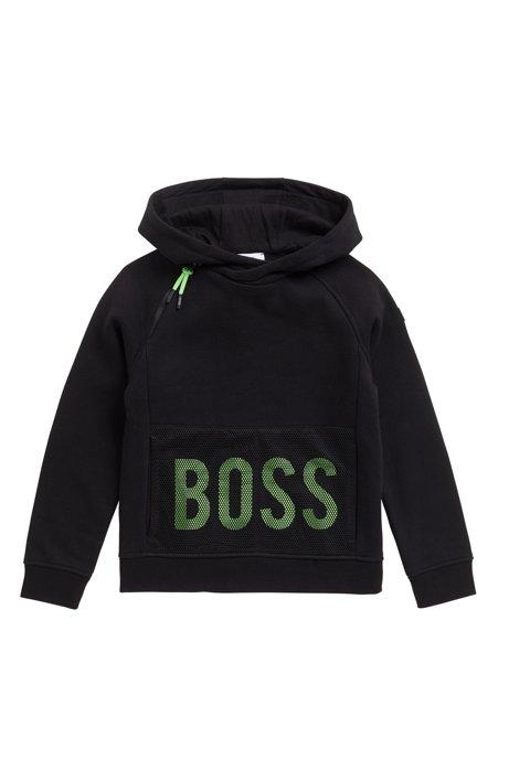 83886a9a Kids' cotton-blend fleece hoodie with fluorescent logo print, Black