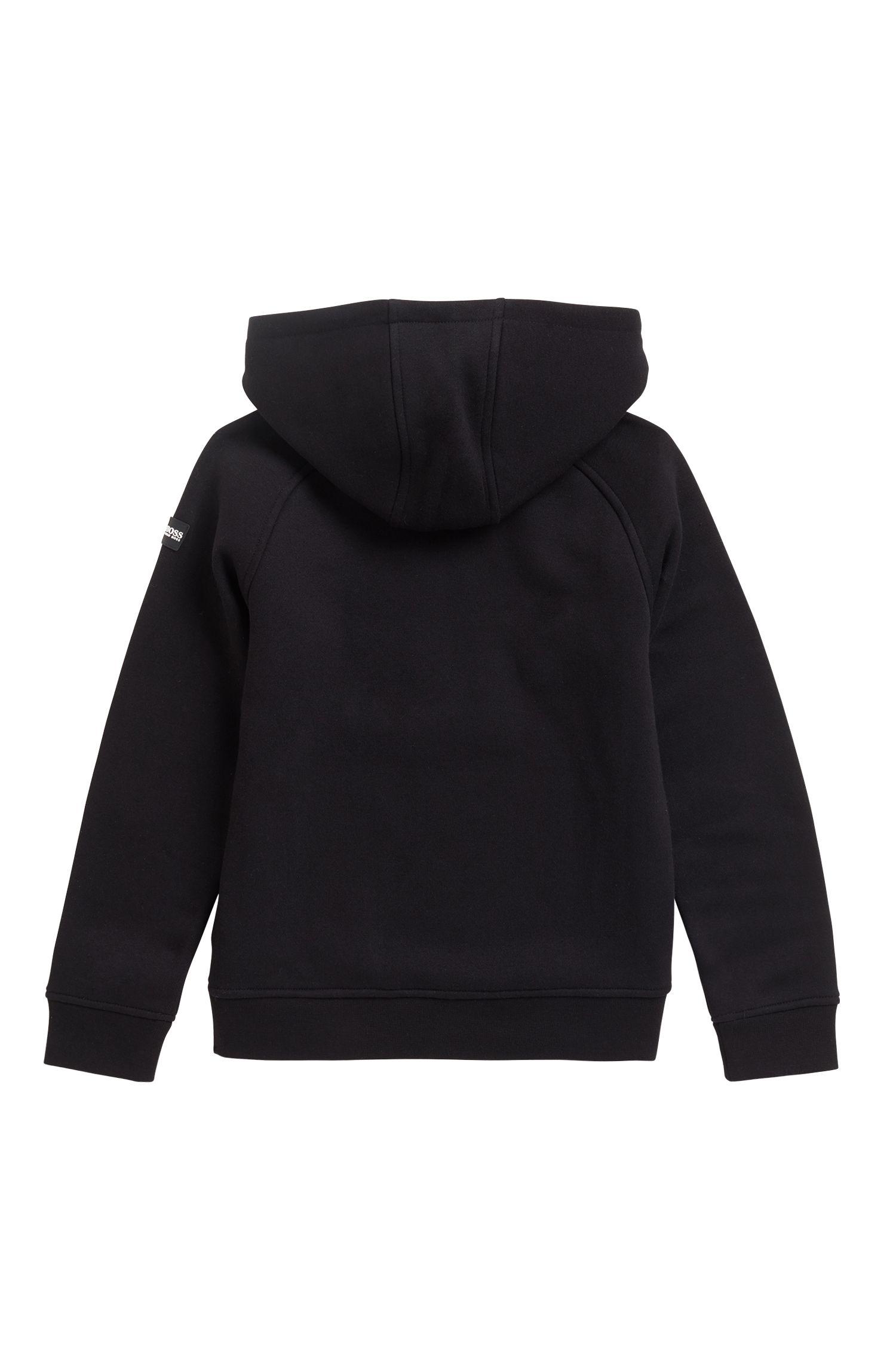 Sweat à capuche pour enfant en polaire de coton mélangé à logo imprimé fluo, Noir