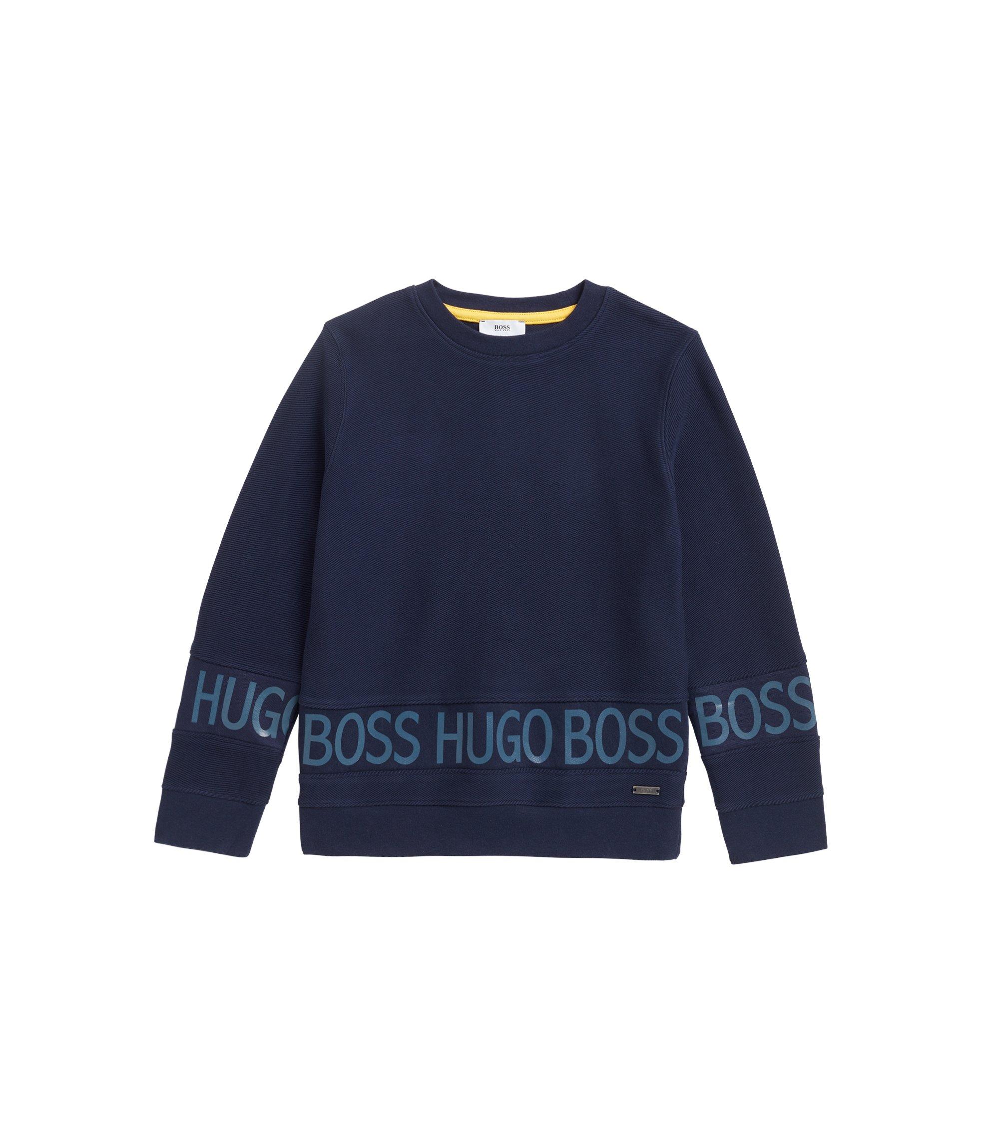 Loungewearsweater voor kinderen, met logoprint van transparante inkt, Donkerblauw
